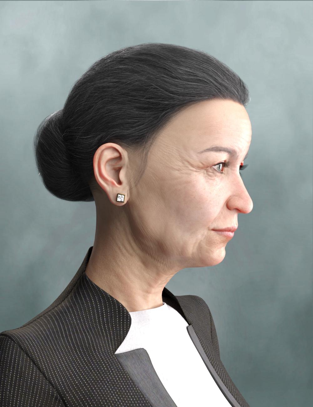 Elegant Bun Hair for Genesis 8 and Genesis 3 Female(s) by: RedzStudio, 3D Models by Daz 3D