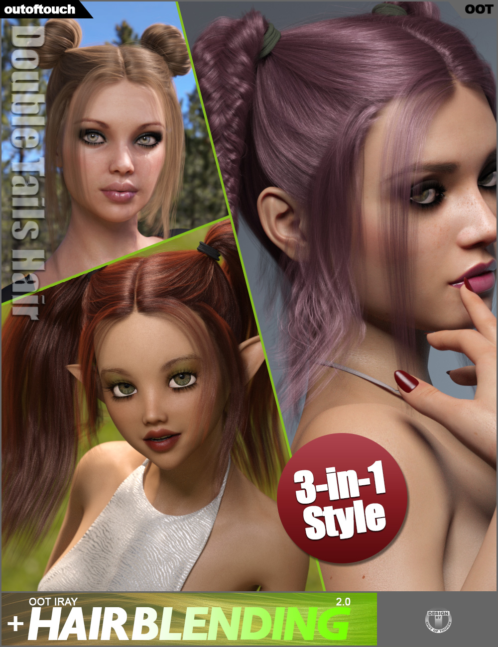 Double Tails Hair for Genesis 3 and 8 Female(s) by: outoftouch, 3D Models by Daz 3D