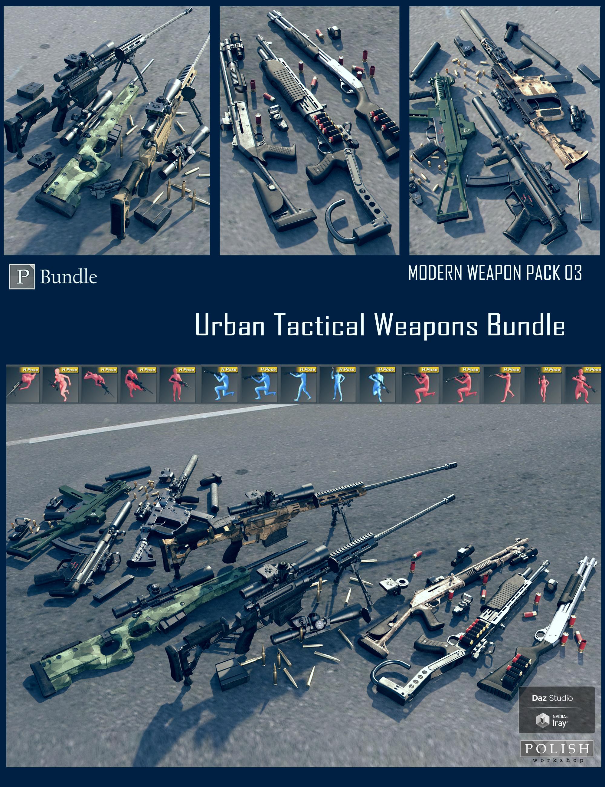 Urban Tactical Weapons Bundle by: Polish, 3D Models by Daz 3D
