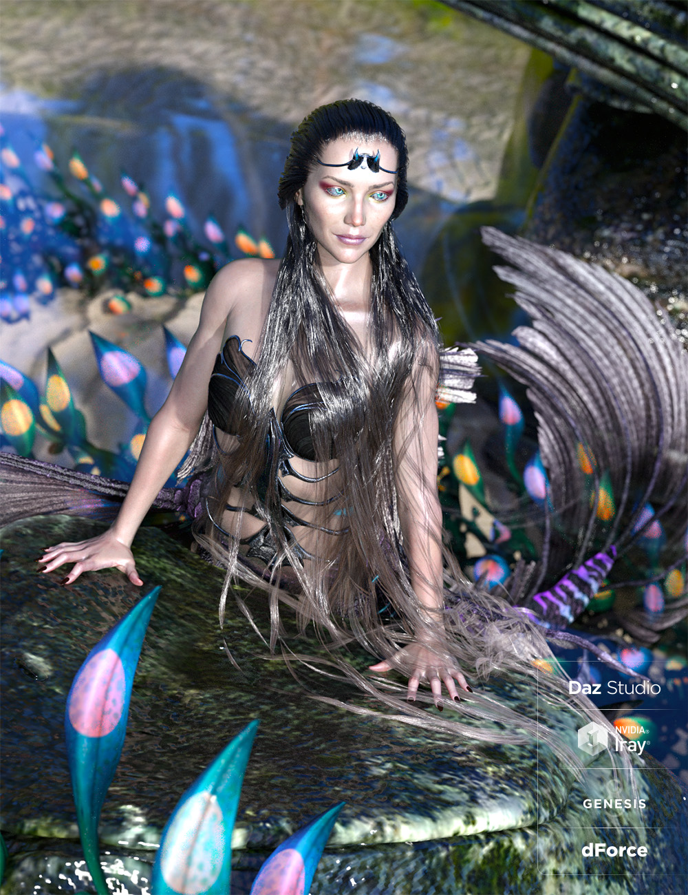 Aguja Mermaid Hair with dForce for Genesis 8 Female by: ArkiShox-Design, 3D Models by Daz 3D
