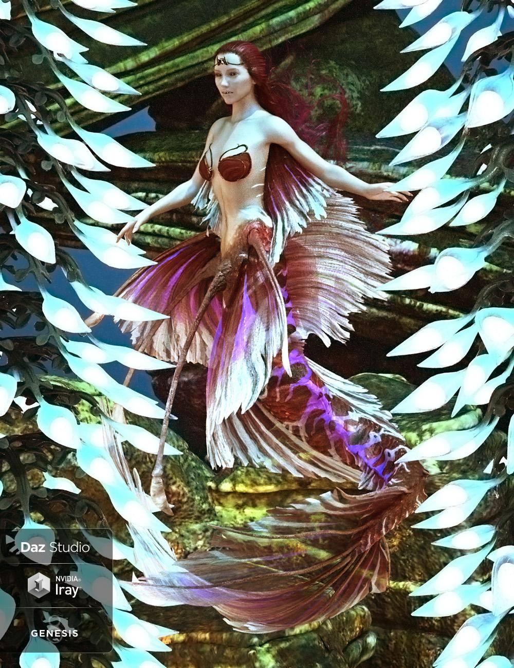 Aguja Mermaid for Genesis 8 Female Plus Mertail and Fins by: ArkiDarwins Mishap(s), 3D Models by Daz 3D