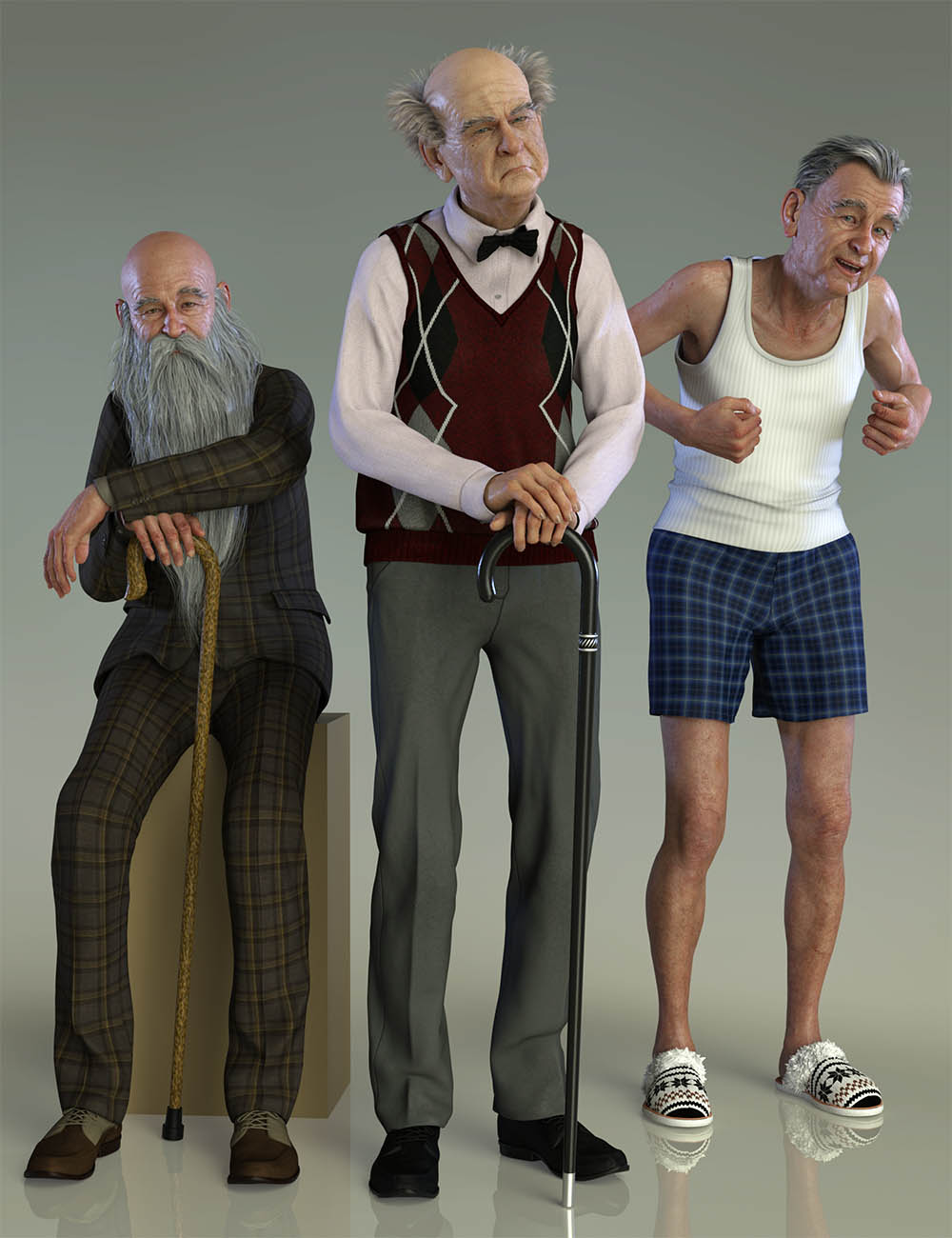 Old Man Poses and Walking Cane for Floyd 8 by: Capsces Digital Ink, 3D Models by Daz 3D