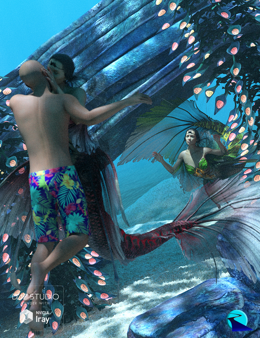 Aguja Mermaid Poses and Pose Control by: RiverSoft Art, 3D Models by Daz 3D