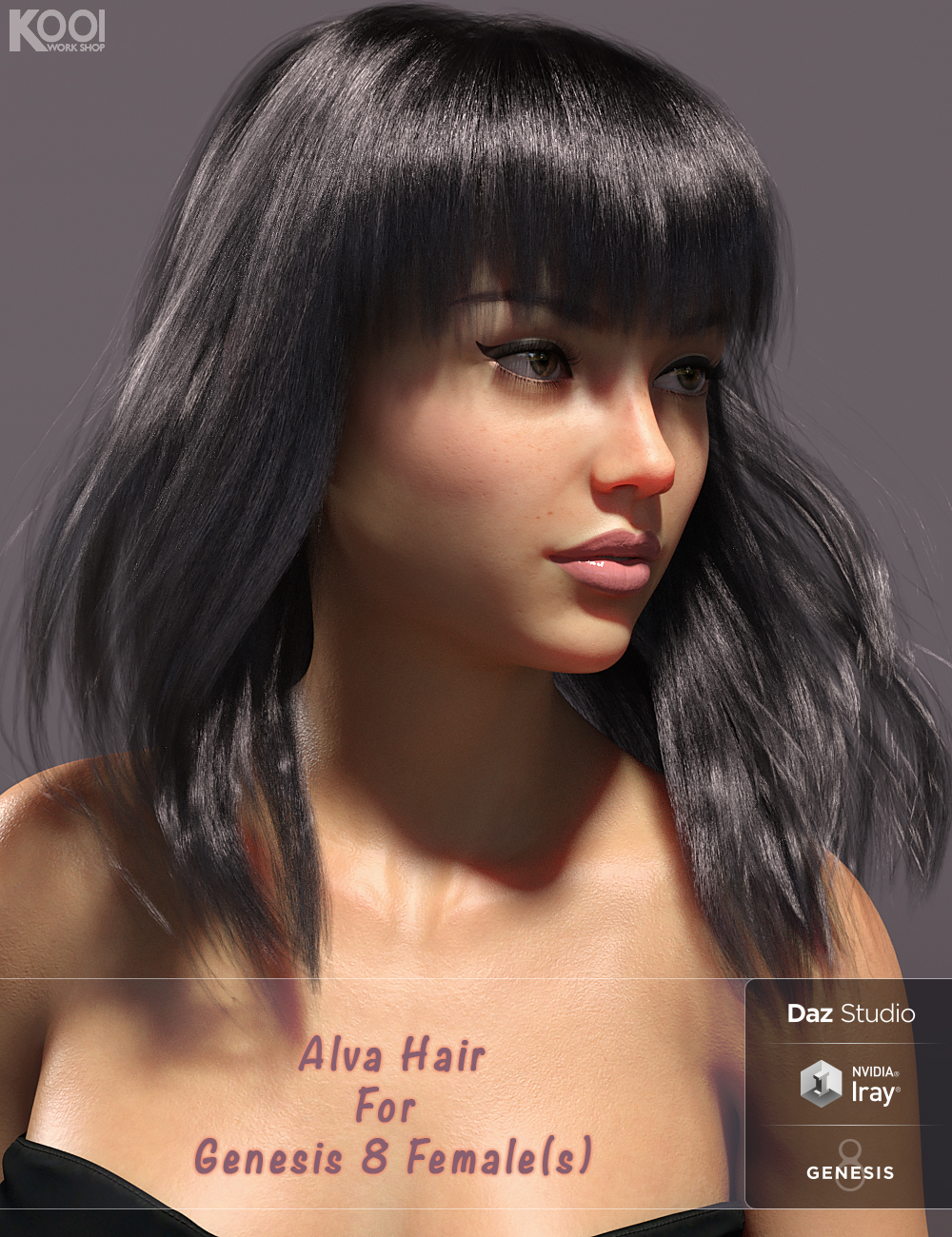 Alva Hair for Genesis 8 Female(s) by: Kool, 3D Models by Daz 3D