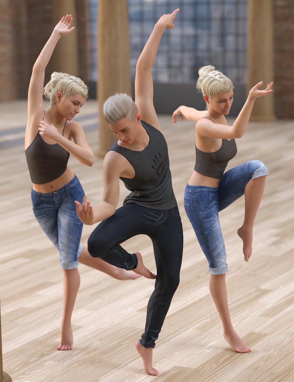 Modern Dance Troupe Poses for Genesis 8 by: FeralFey, 3D Models by Daz 3D