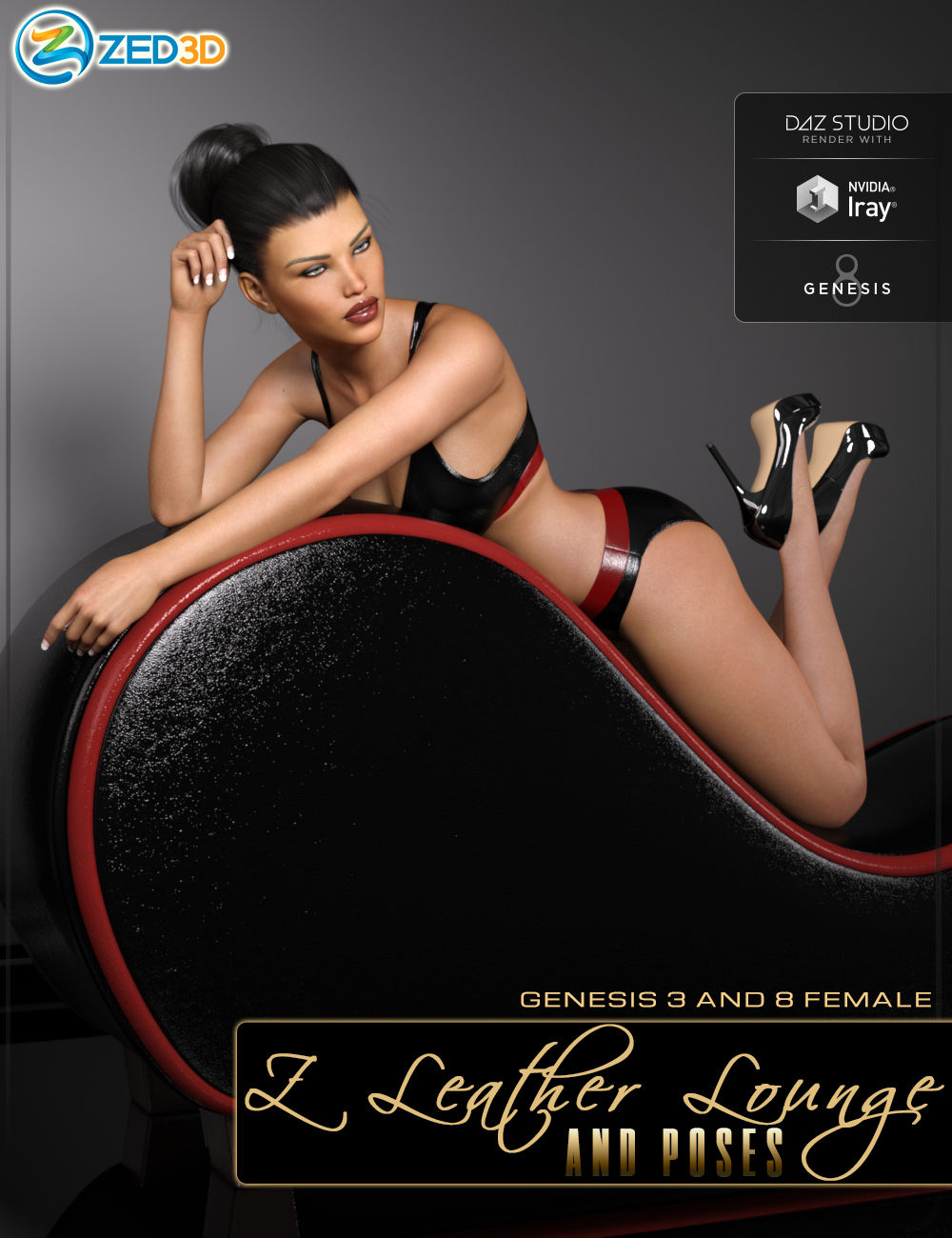 Z Leather Lounge - Prop and Poses for Genesis 3 and 8 Female by: Zeddicuss, 3D Models by Daz 3D