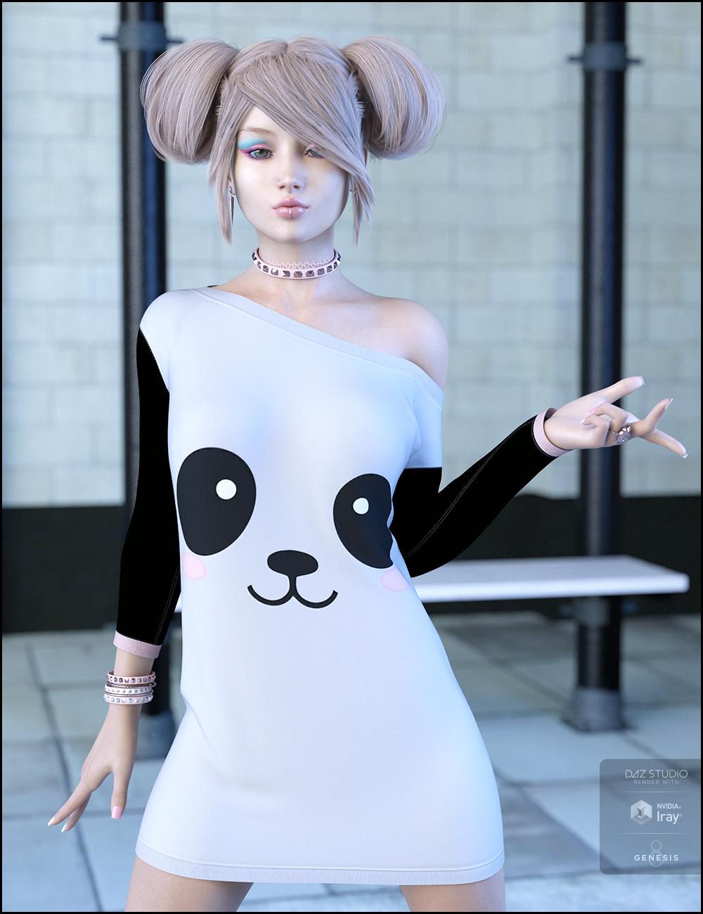 dForce Attitude Dress Kawaii Textures by: JessaiiDemonicaEvilius, 3D Models by Daz 3D