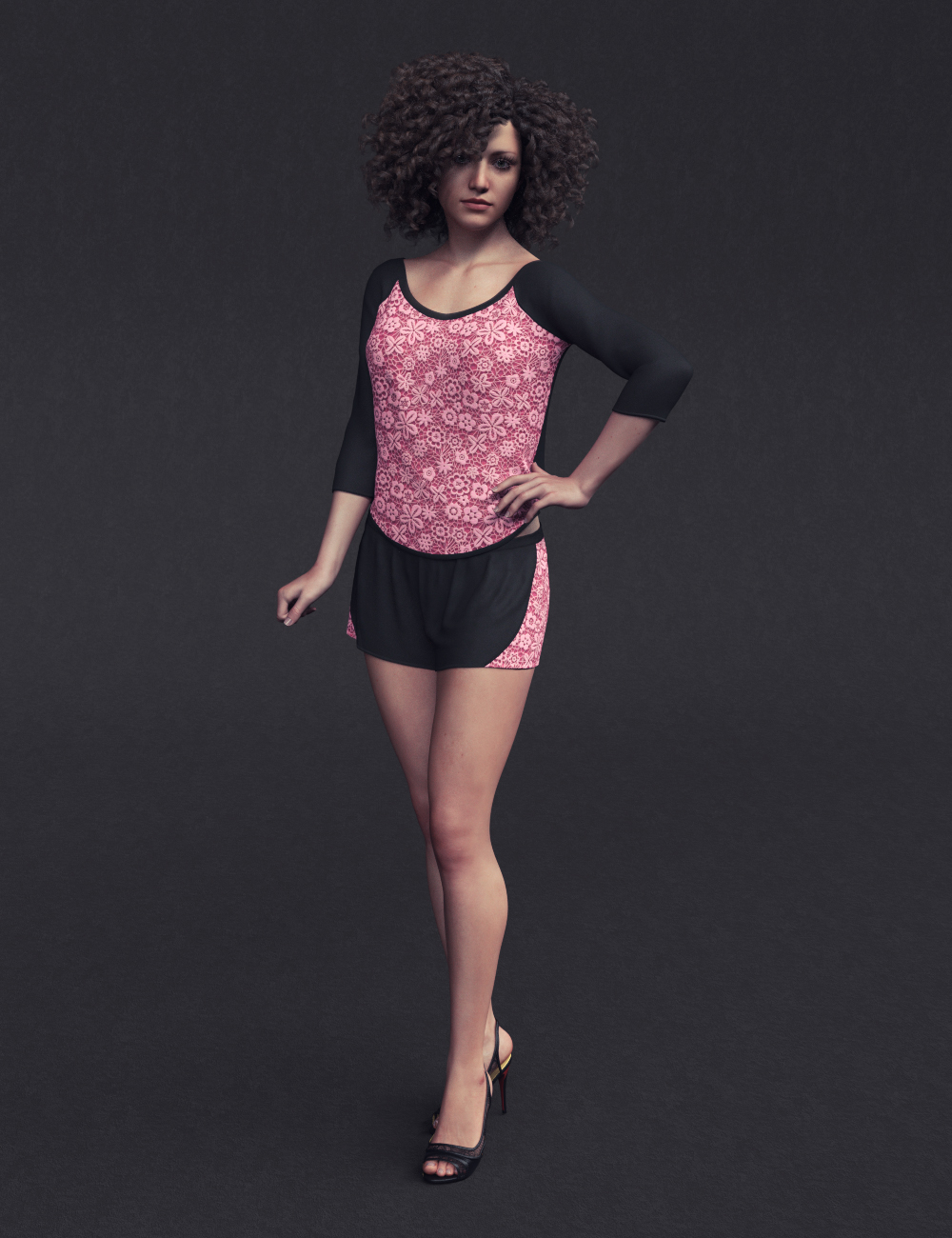 dForce Lace Sleep Wear Outfit for Genesis 8 Female(s) by: Sprite, 3D Models by Daz 3D
