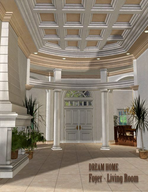 Dream Home: Foyer and Living Room by: , 3D Models by Daz 3D