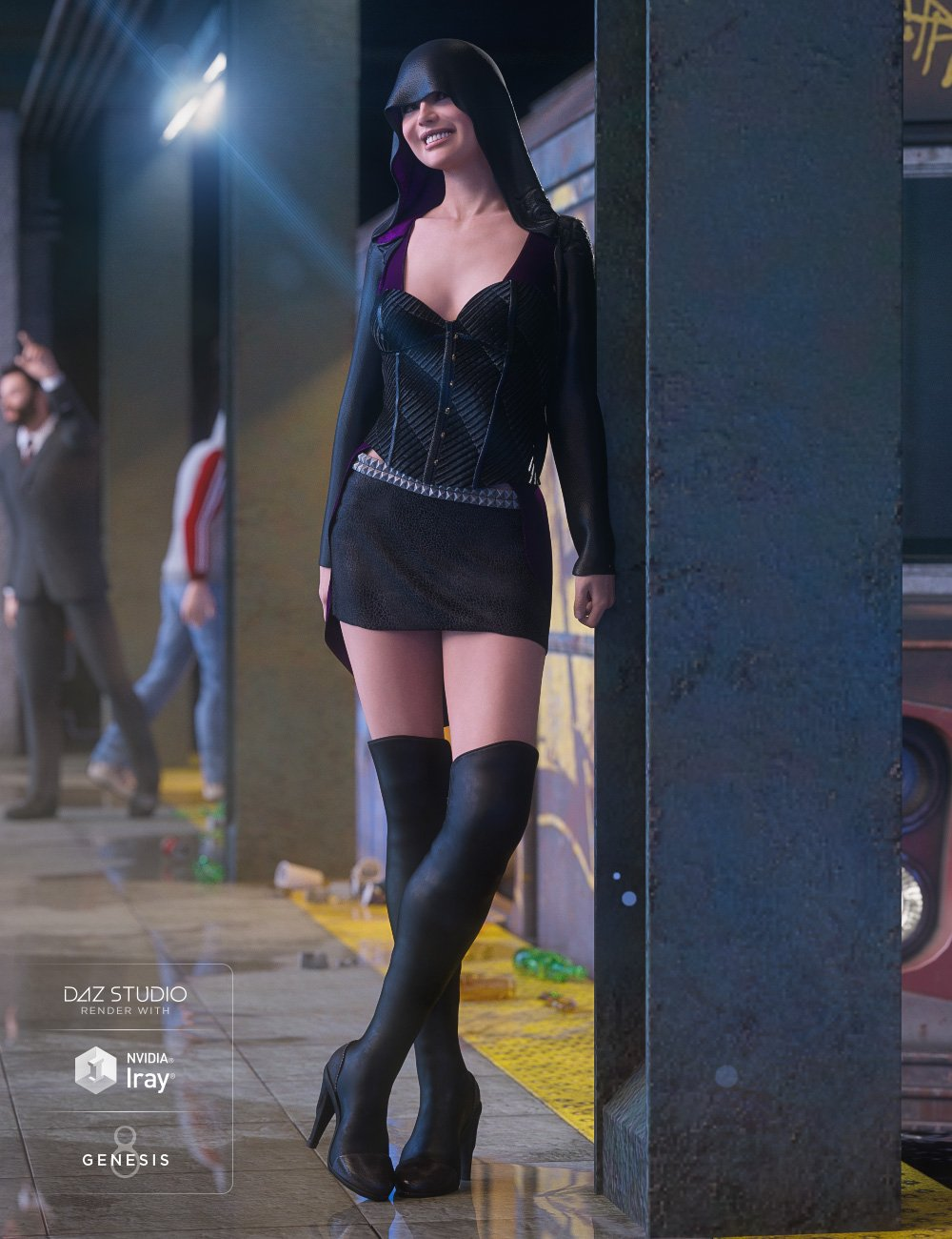 dForce Shadow Hive Outfit for Genesis 8 Female(s) by: Anna BenjaminBarbara Brundon, 3D Models by Daz 3D