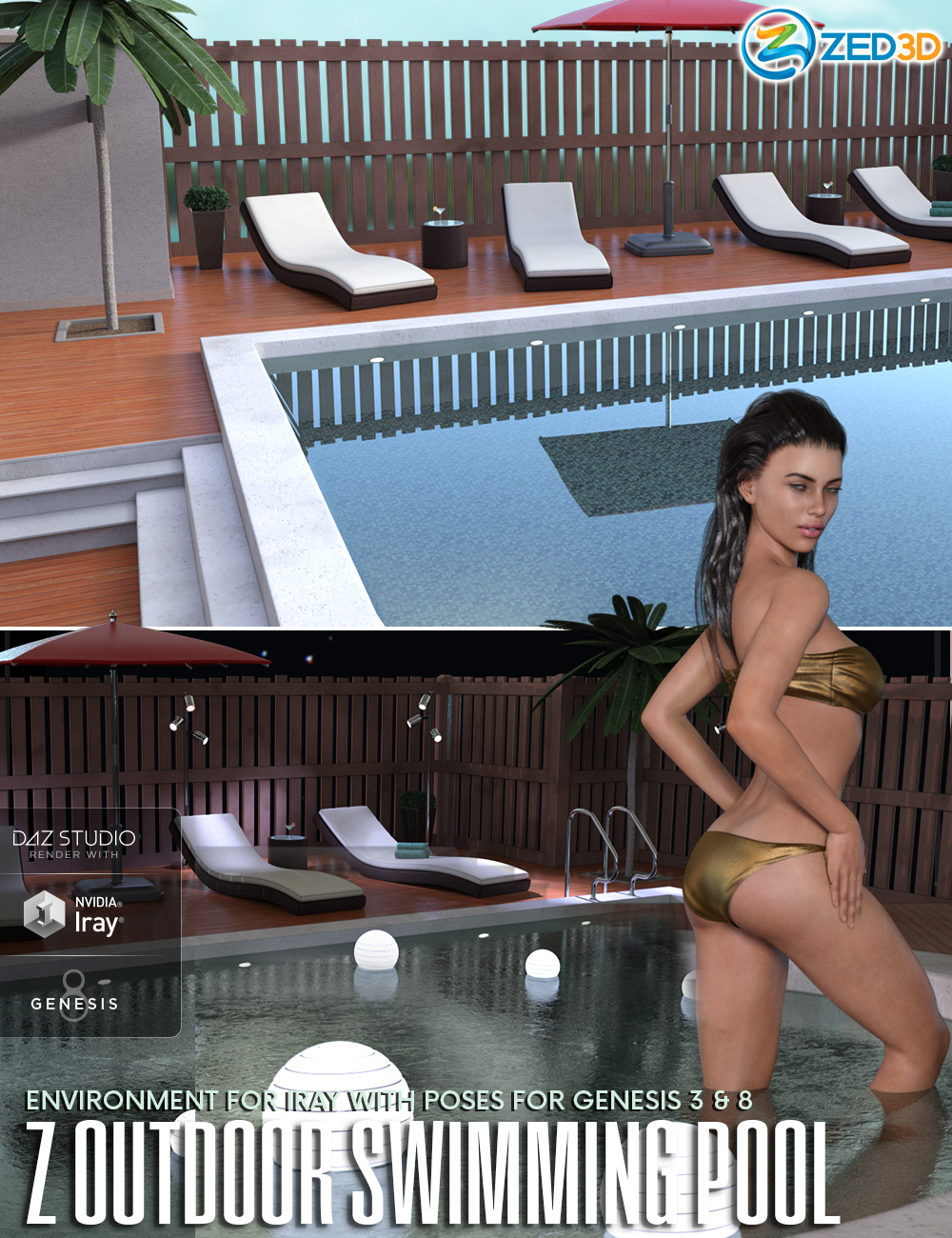 Z Outdoor Swimming Pool Environment and Poses by: Zeddicuss, 3D Models by Daz 3D