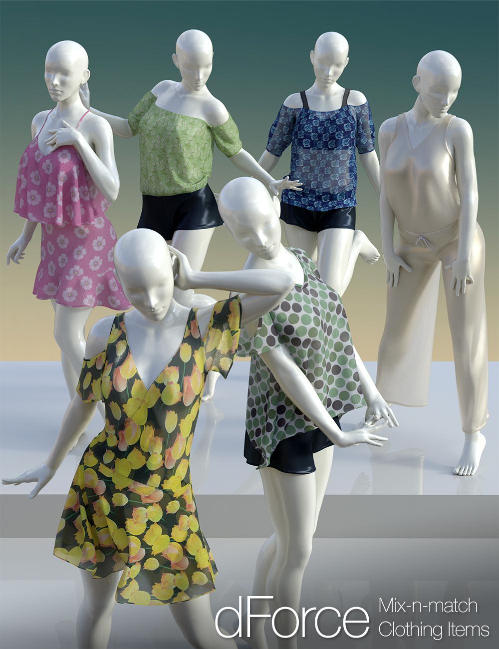 dForce Clothing Set 02 for Genesis 8 Female(s) by: 3D Universe, 3D Models by Daz 3D