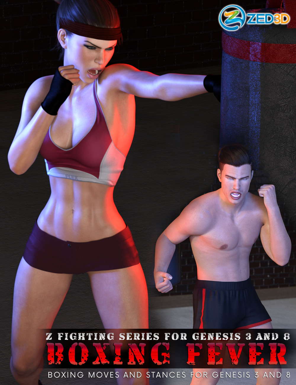 Z Fighting Series: Boxing Fever - Poses and Partials for Genesis 3 and 8 by: Zeddicuss, 3D Models by Daz 3D