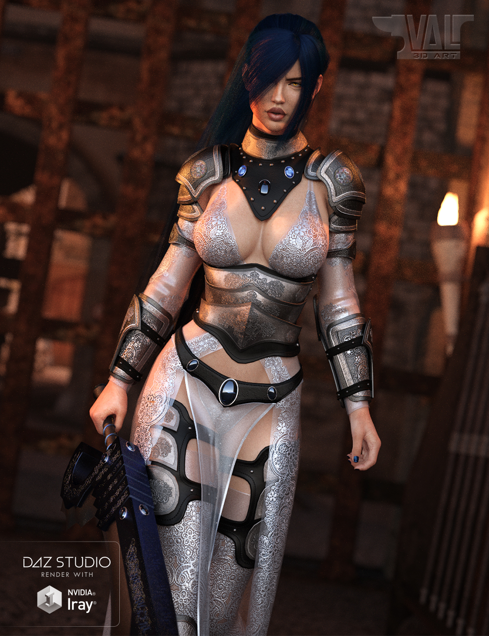 dForce Warrior of Dusk Outfit for Genesis 8 Female(s) by: Val3dart, 3D Models by Daz 3D