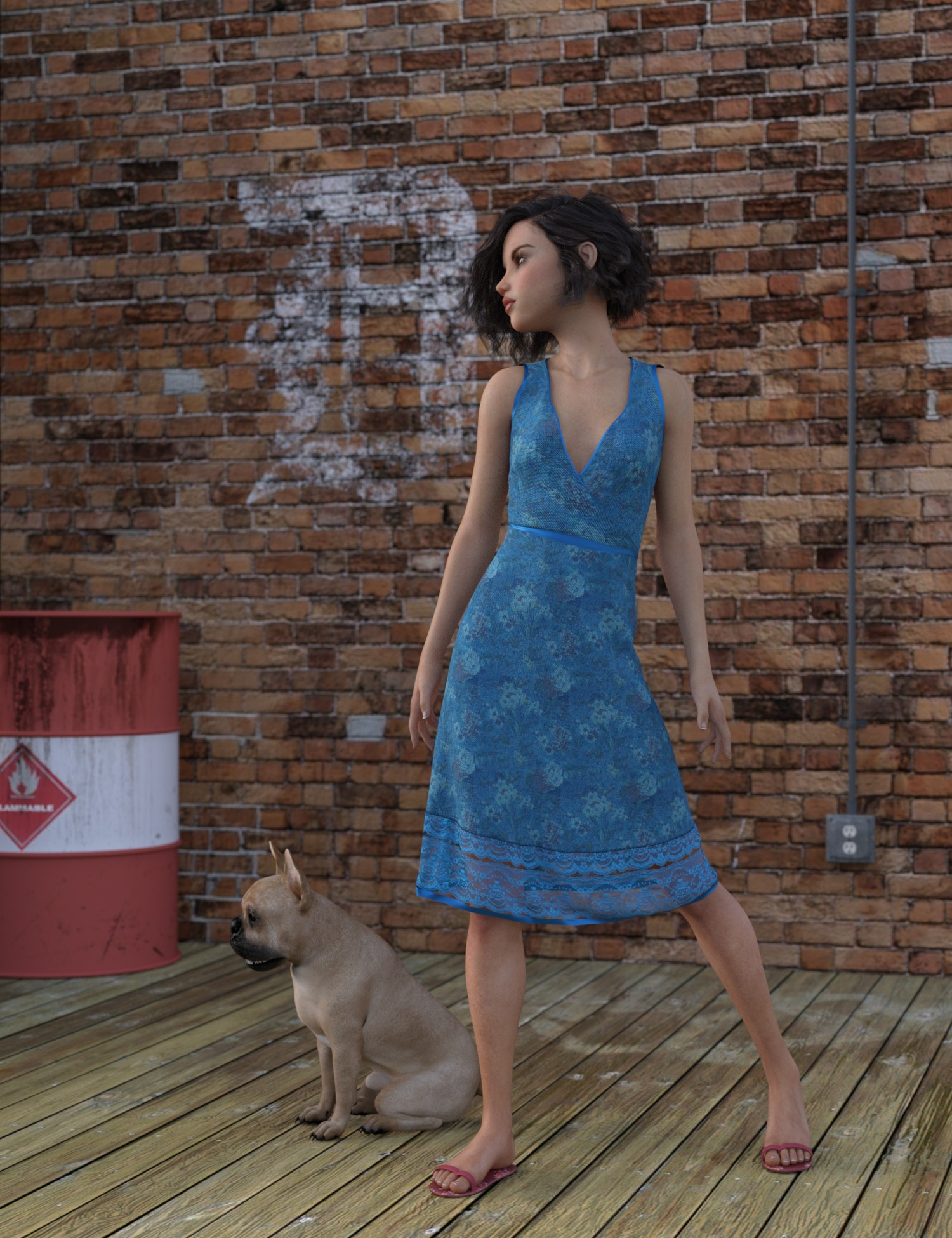 dForce Beachflower Summer Dress for Genesis 8 Female(s) by: AquariusImmersive-DreamWorld, 3D Models by Daz 3D