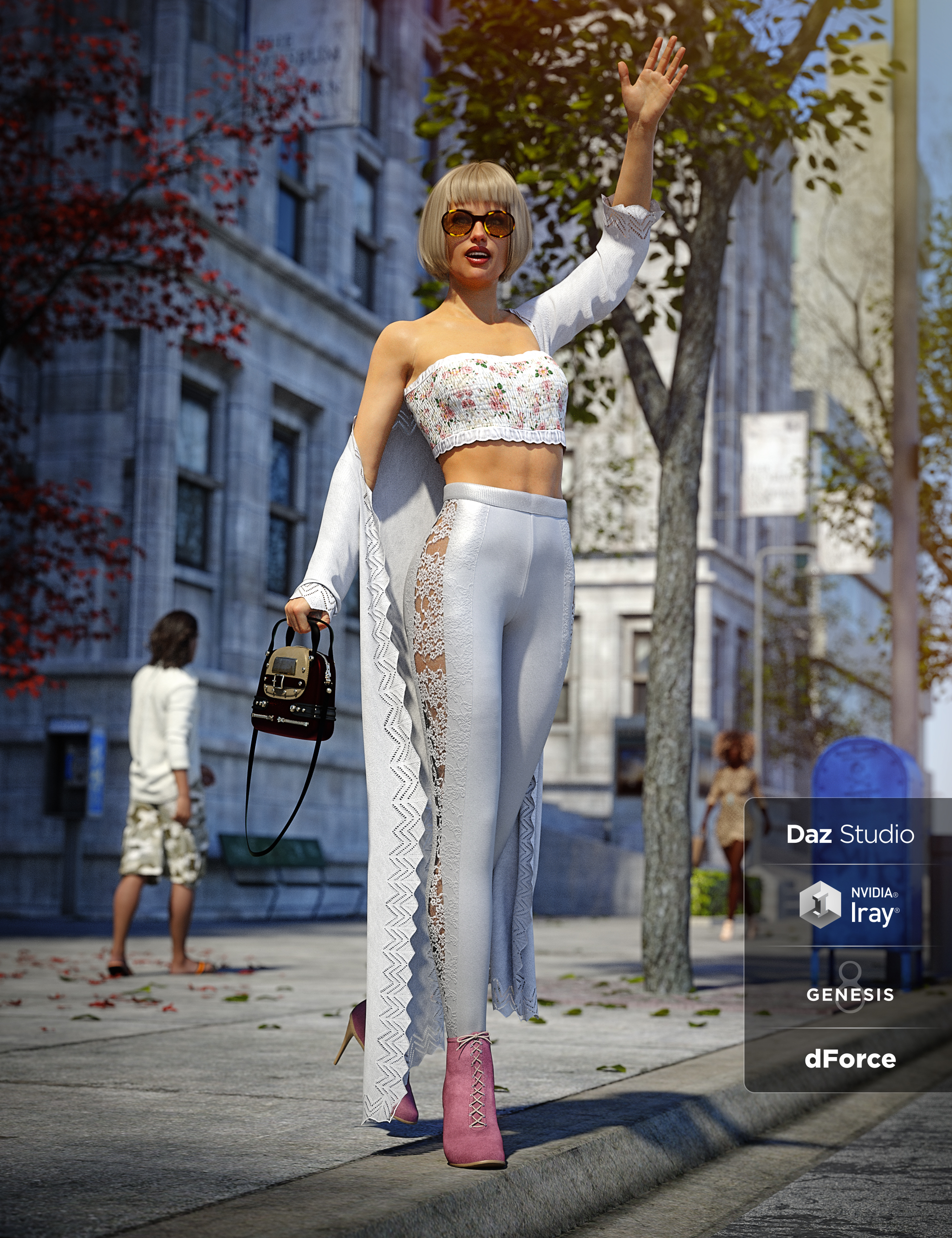 dForce Day Out Outfit for Genesis 8 Female(s) by: Barbara BrundonShox-DesignUmblefugly, 3D Models by Daz 3D