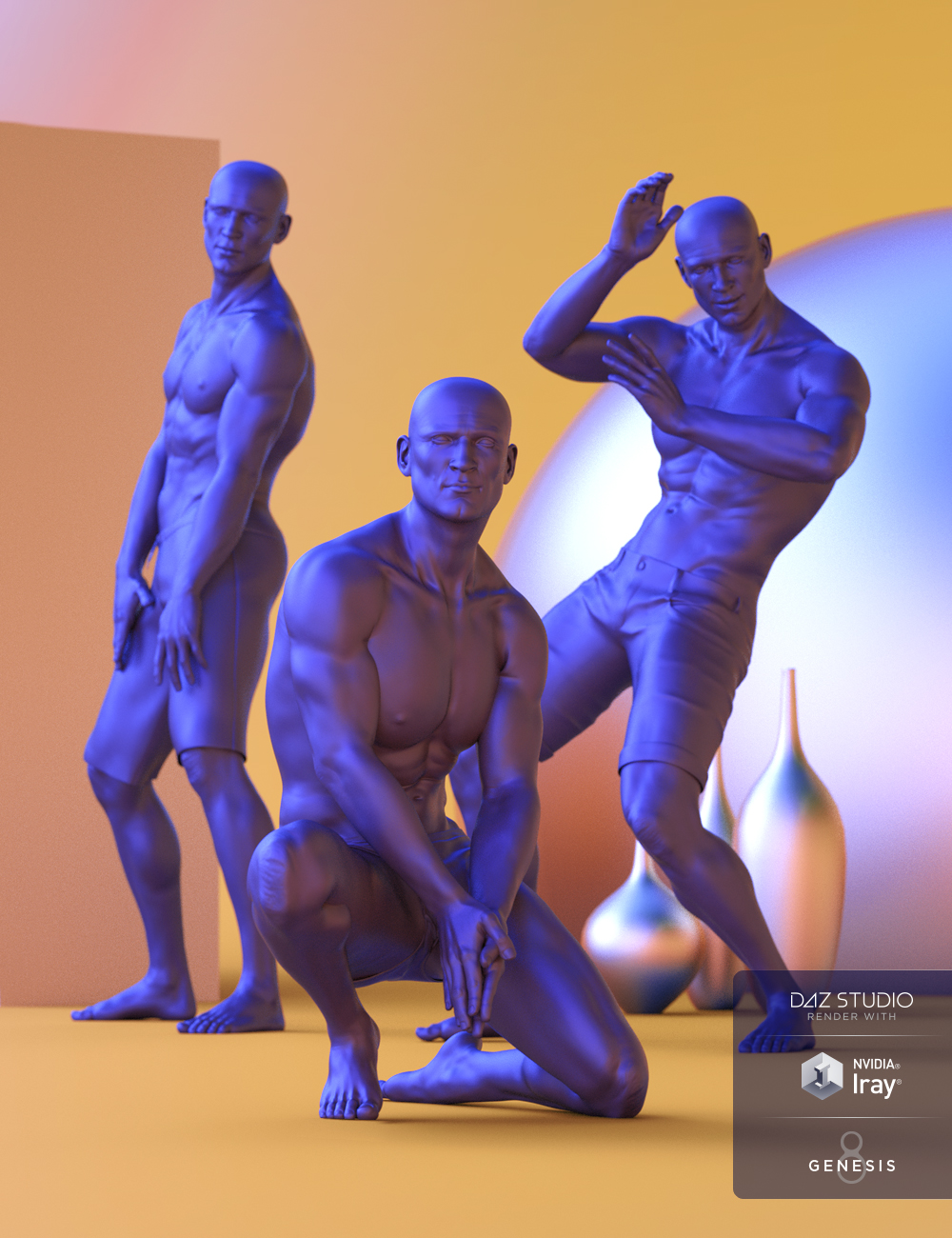 Solarized Poses for Genesis 8 Male by: Faber Inc, 3D Models by Daz 3D