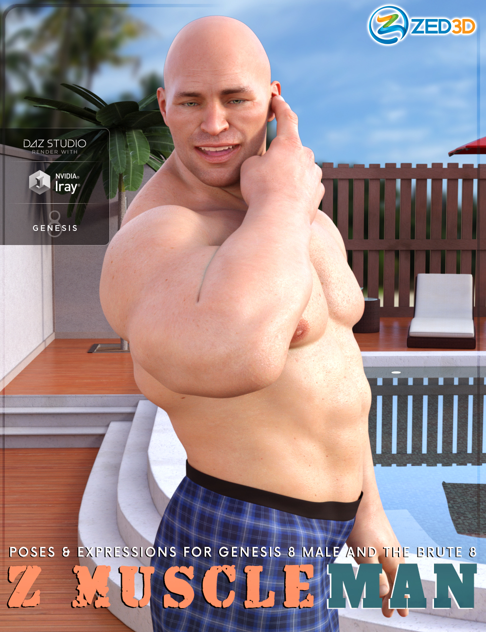 Z Muscleman - Poses and Expressions for Genesis 8 Male and The Brute 8 by: Zeddicuss, 3D Models by Daz 3D