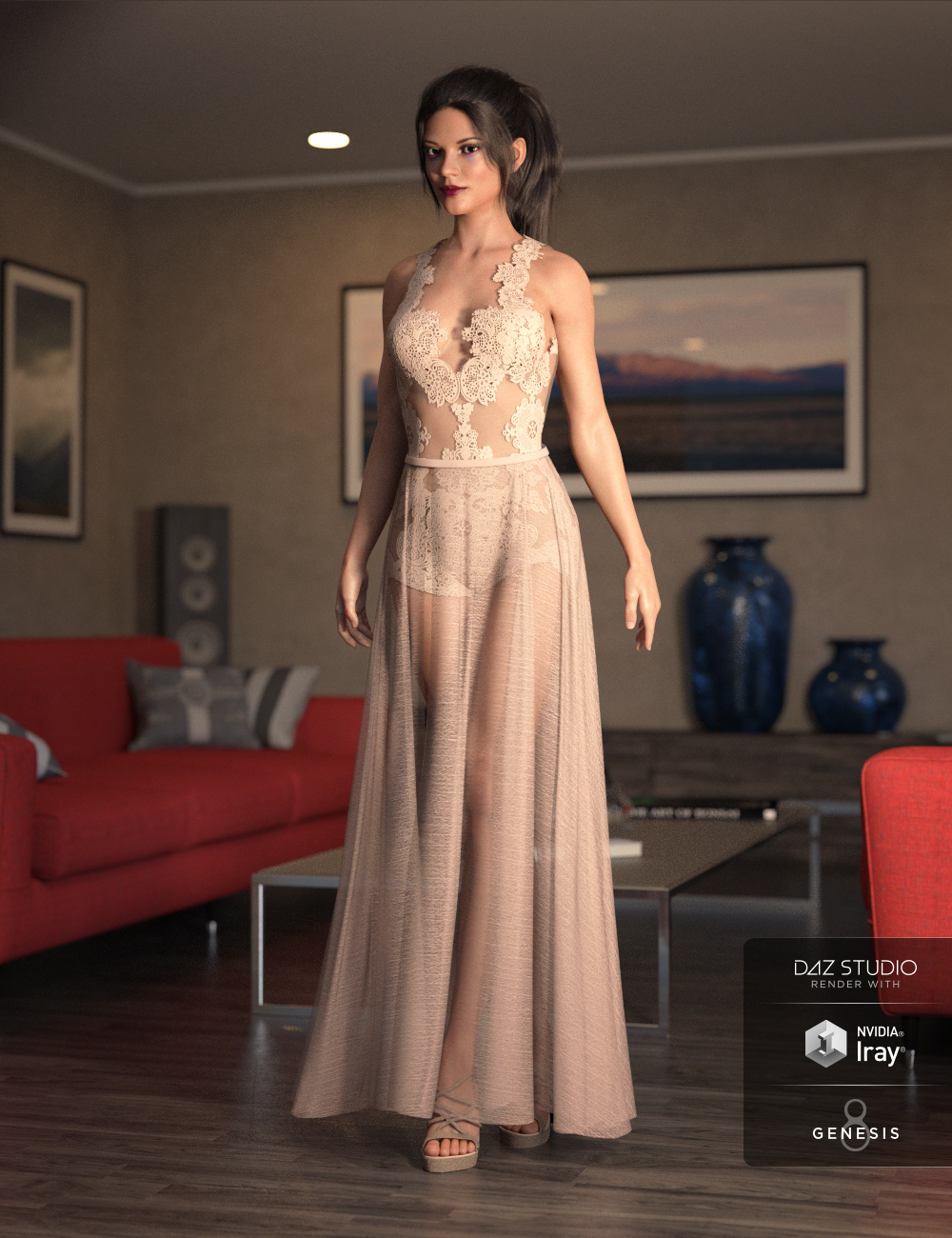 dForce Chantilly Chic Outfit for Genesis 8 Female(s) by: Barbara BrundonMoonscape GraphicsSade, 3D Models by Daz 3D