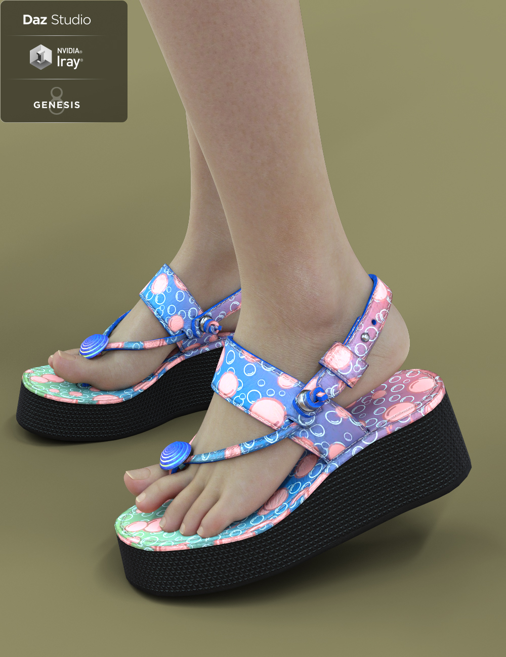 Jiwoo Sandals for Genesis 8 Female(s) by: chungdan, 3D Models by Daz 3D