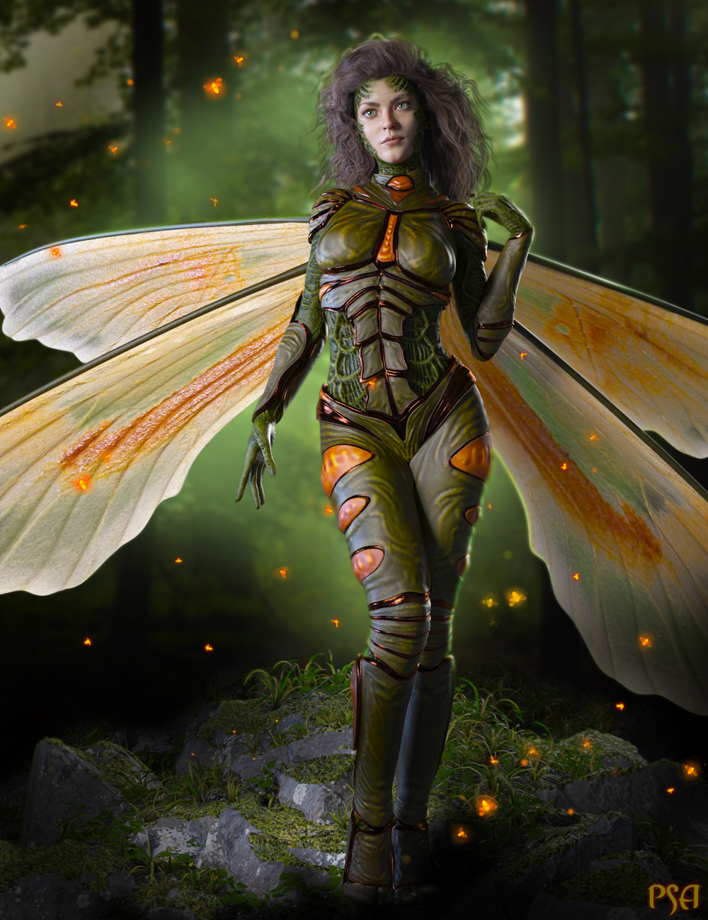 Pix Pyrida HD and FireFly Outfit for Genesis 8 Female(s) by: ArkishadownetPixeluna, 3D Models by Daz 3D
