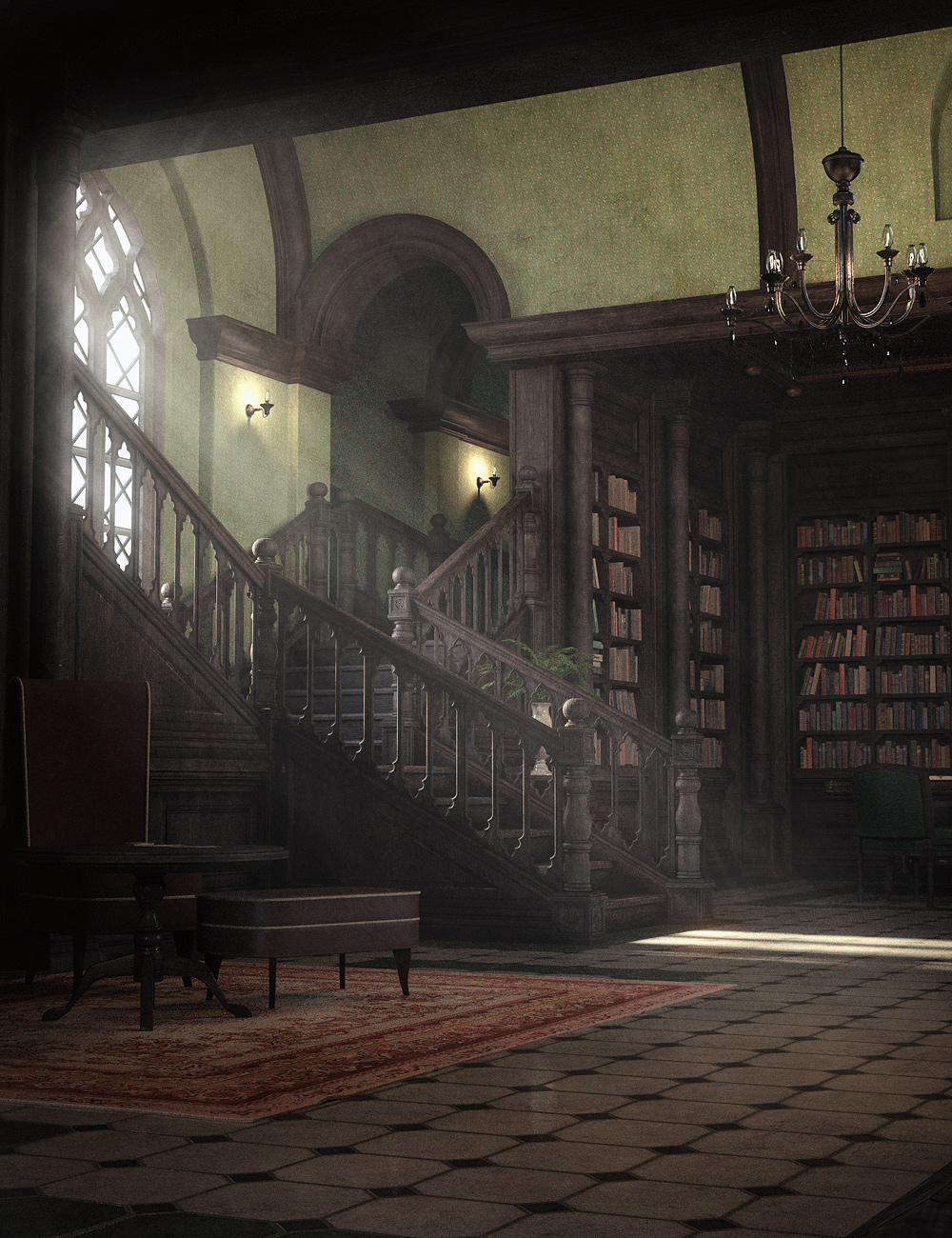 The Gothic Library by: Stonemason, 3D Models by Daz 3D