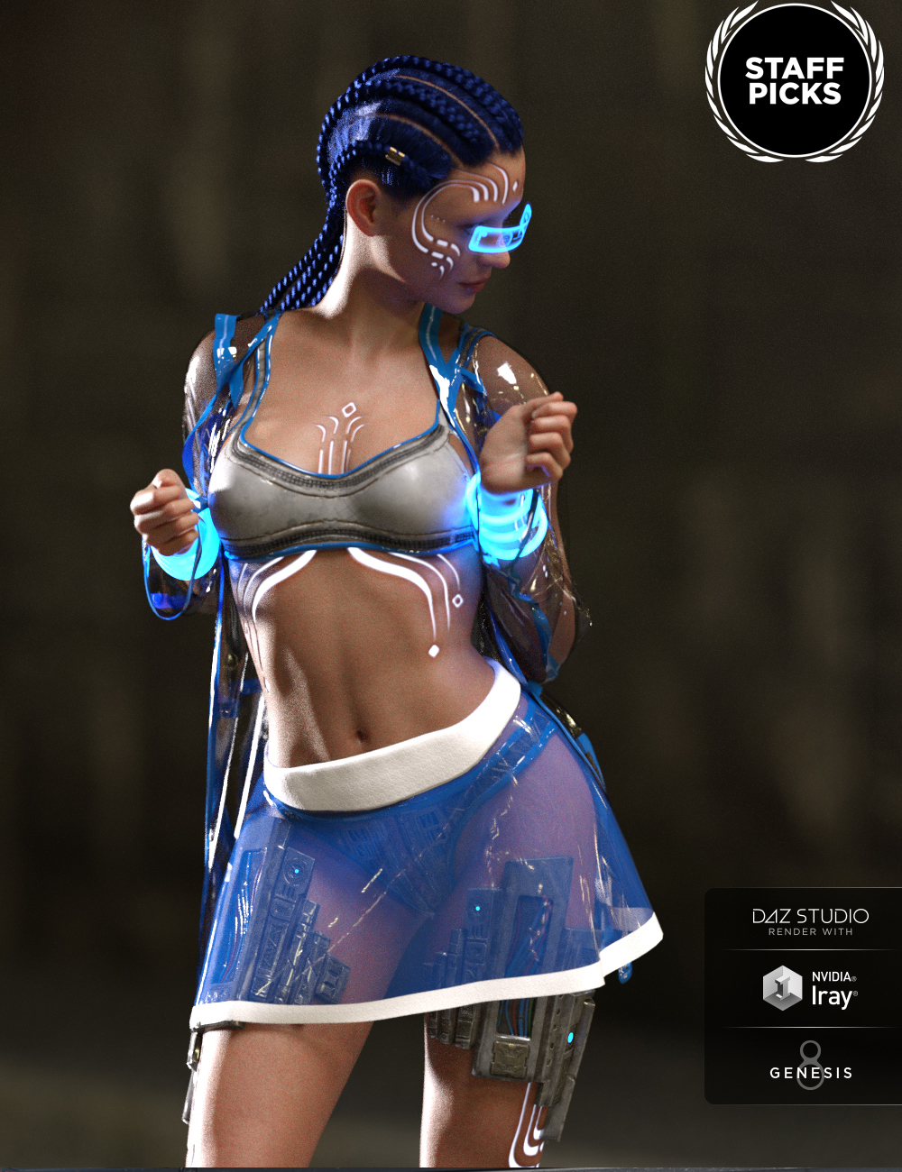 dForce Night Runner Outfit for Genesis 8 Female(s) by: GolaM, 3D Models by Daz 3D