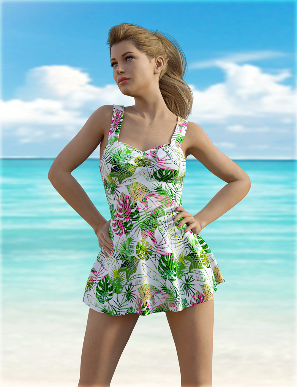 dForce H&C One Piece Swimsuit B for Genesis 8 Female(s) by: IH Kang, 3D Models by Daz 3D