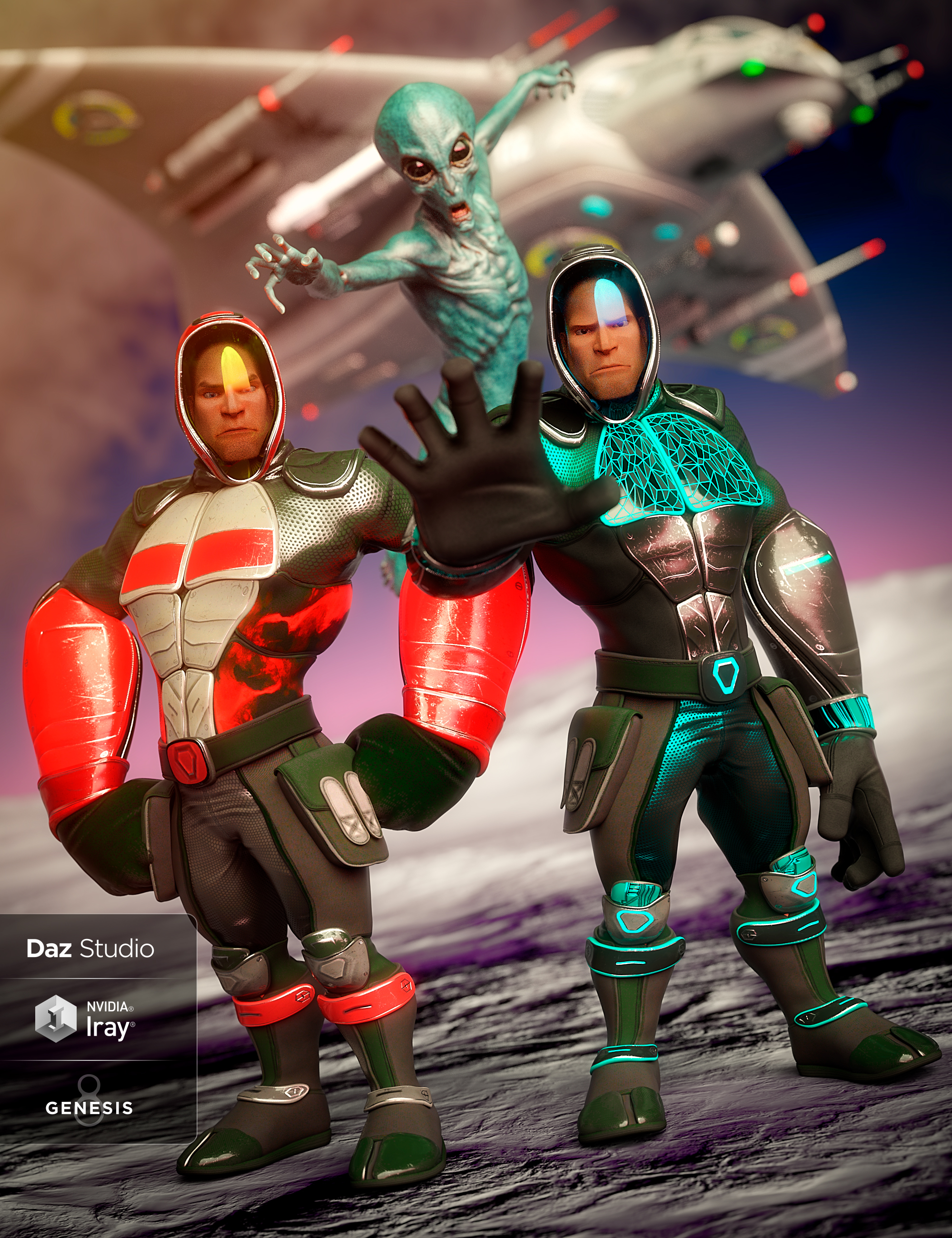 Sci-fi Ninja Outfit Textures by: Demian, 3D Models by Daz 3D