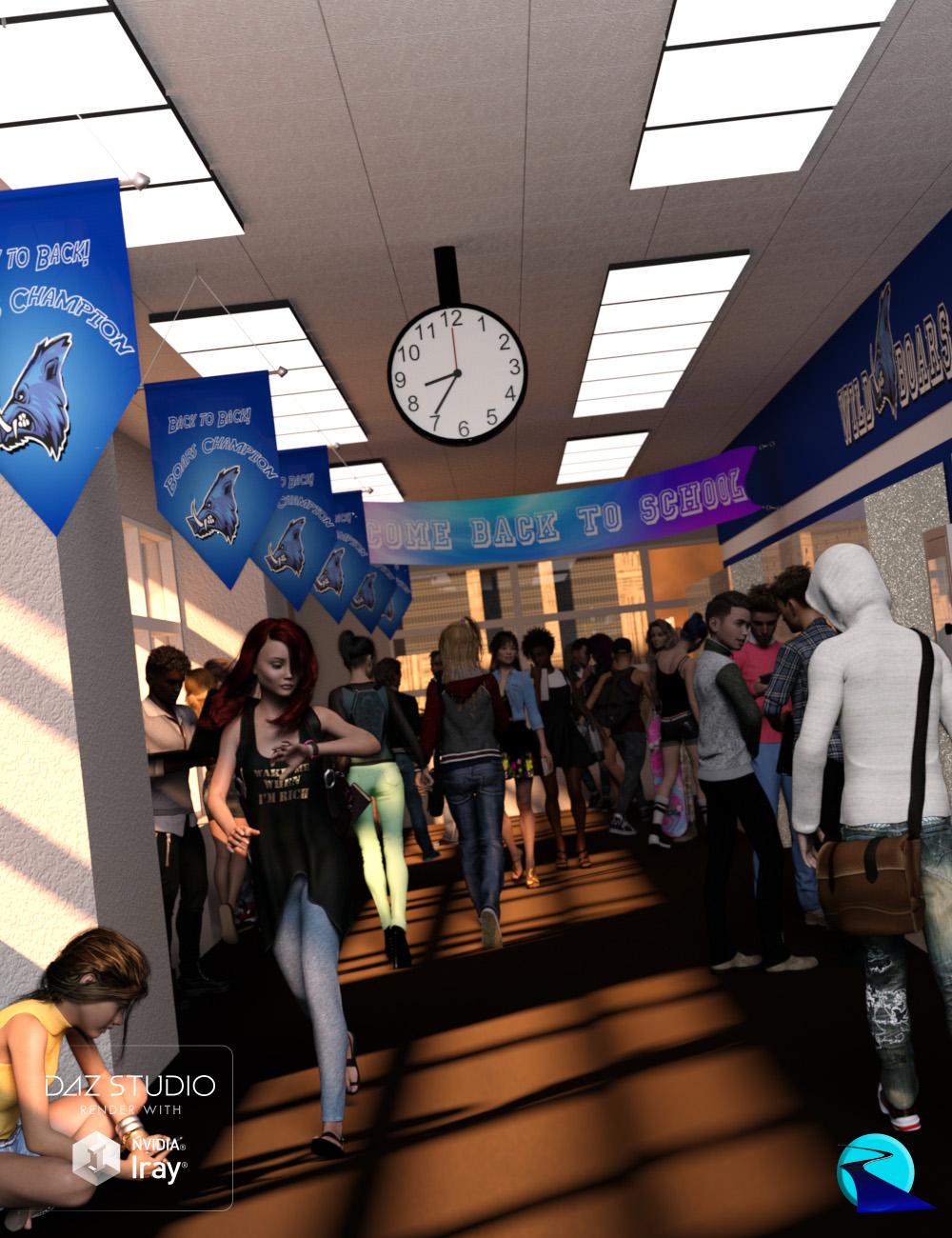 Now-Crowd Billboards - School Life by: RiverSoft Art, 3D Models by Daz 3D