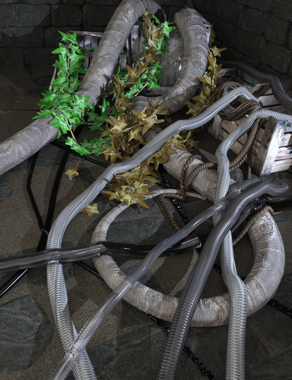 SY dForce Ropes, Vines and Tubes by: Sickleyield, 3D Models by Daz 3D