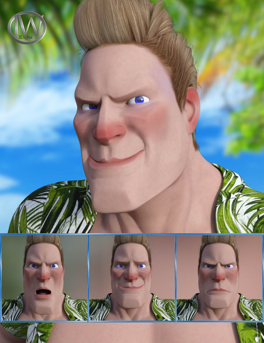 Cartoon Guy - Expressions for Genesis 8 Male and Toon Dwayne 8 by: JWolf, 3D Models by Daz 3D