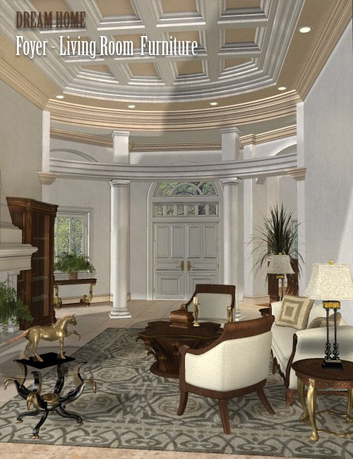Dream Home: Foyer and Living Room Furniture -- London by: , 3D Models by Daz 3D