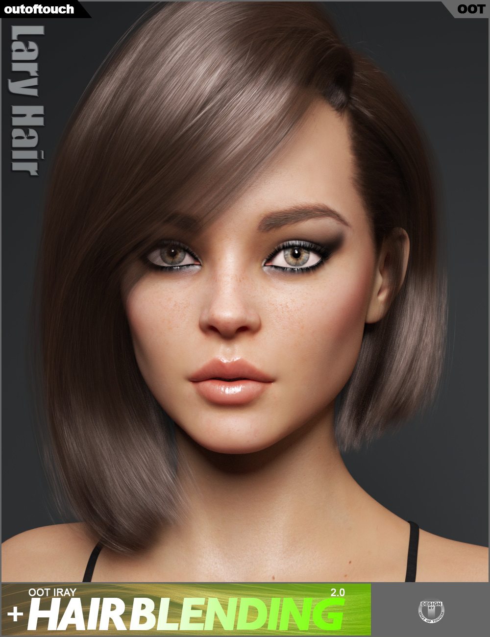 Lary Hair for Genesis 3 and 8 Female(s) by: outoftouch, 3D Models by Daz 3D