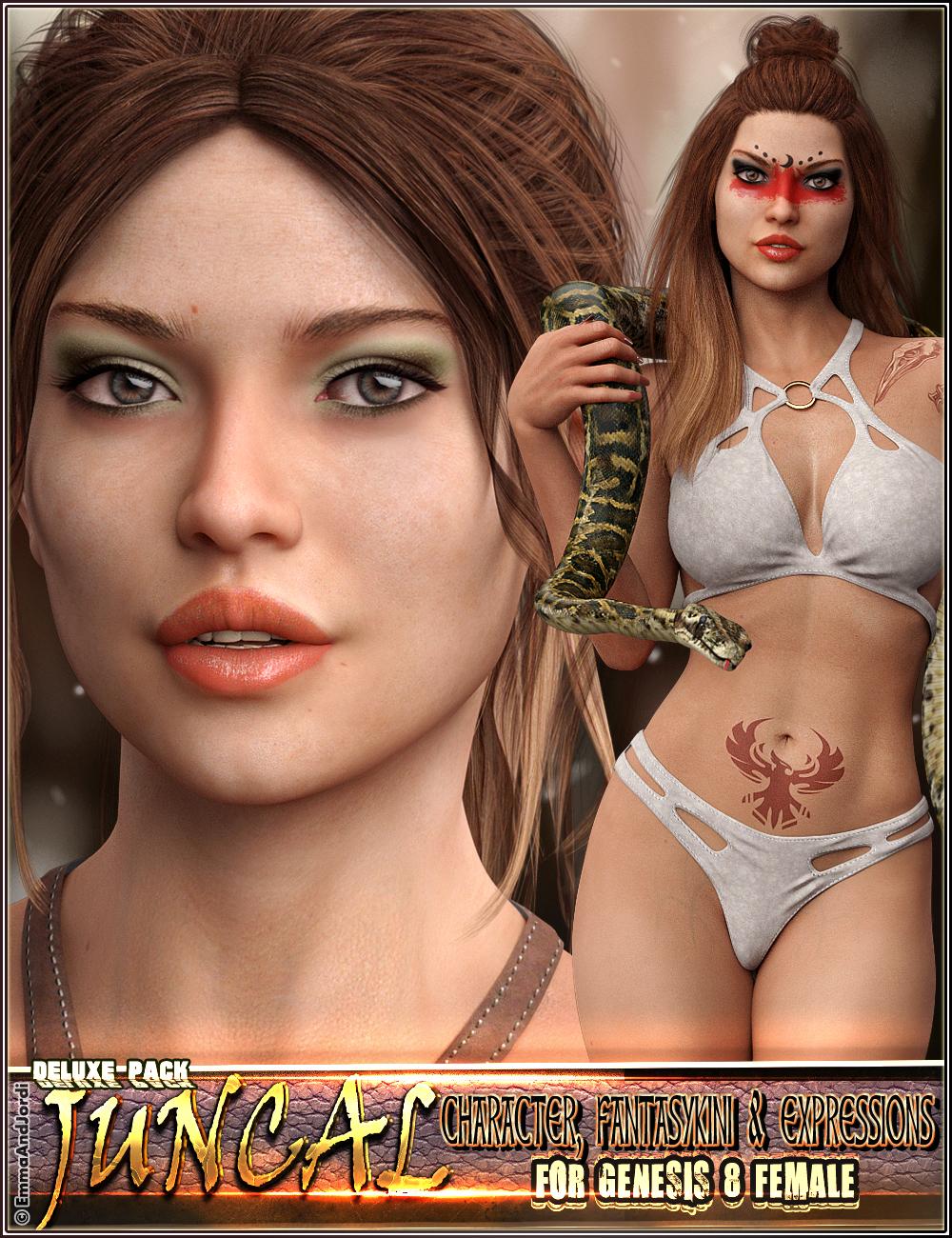 EJ Juncal Deluxe Pack for Genesis 8 Female: Character, Fantasykini and Expressions by: EmmaAndJordi, 3D Models by Daz 3D
