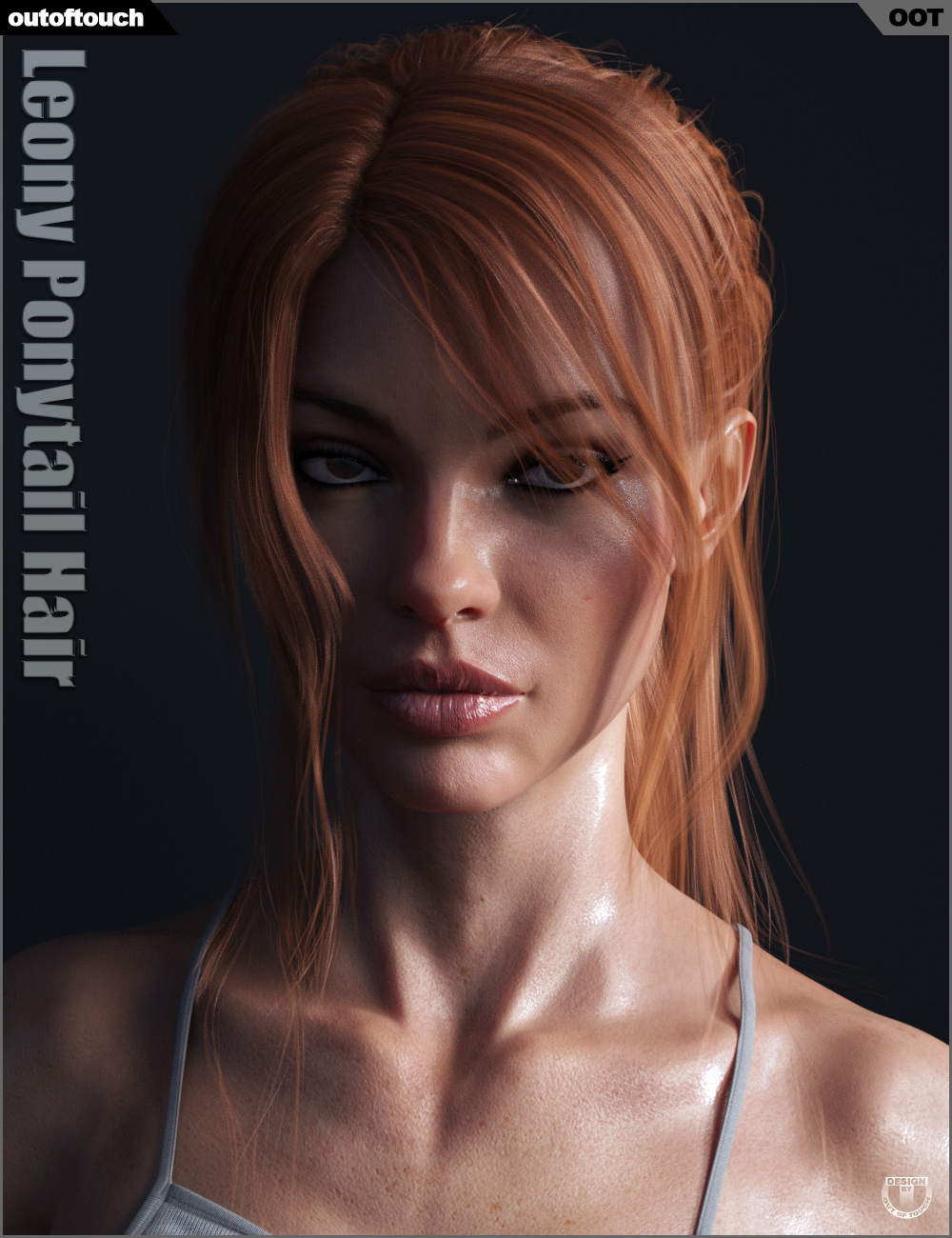 Leony Wet and Dry Ponytail Hair for Genesis 3 and 8 Female(s) by: outoftouch, 3D Models by Daz 3D