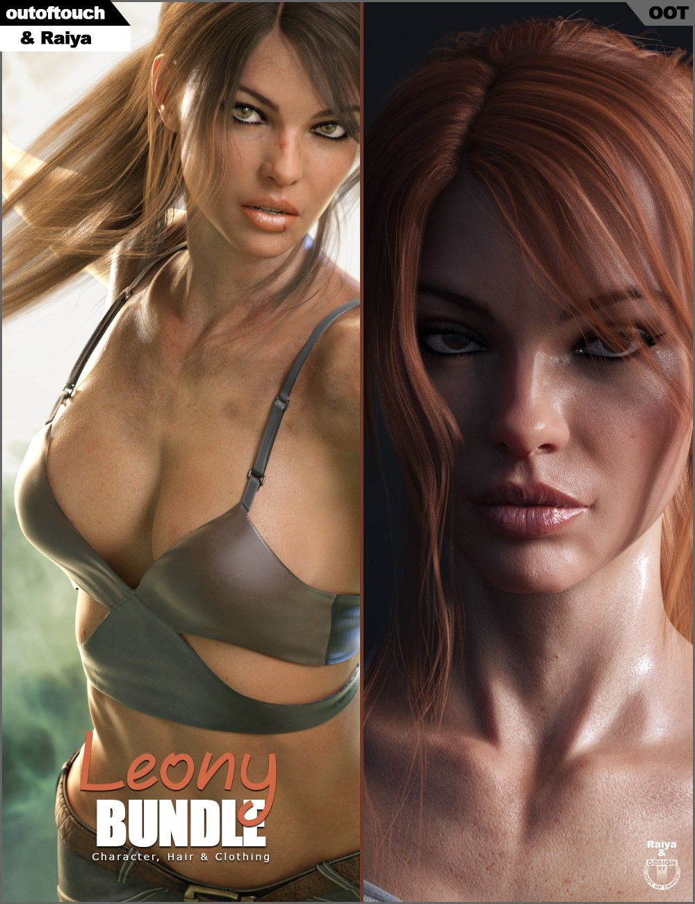 Leony Character, Clothing and Hair Bundle by: Raiyaoutoftouch, 3D Models by Daz 3D