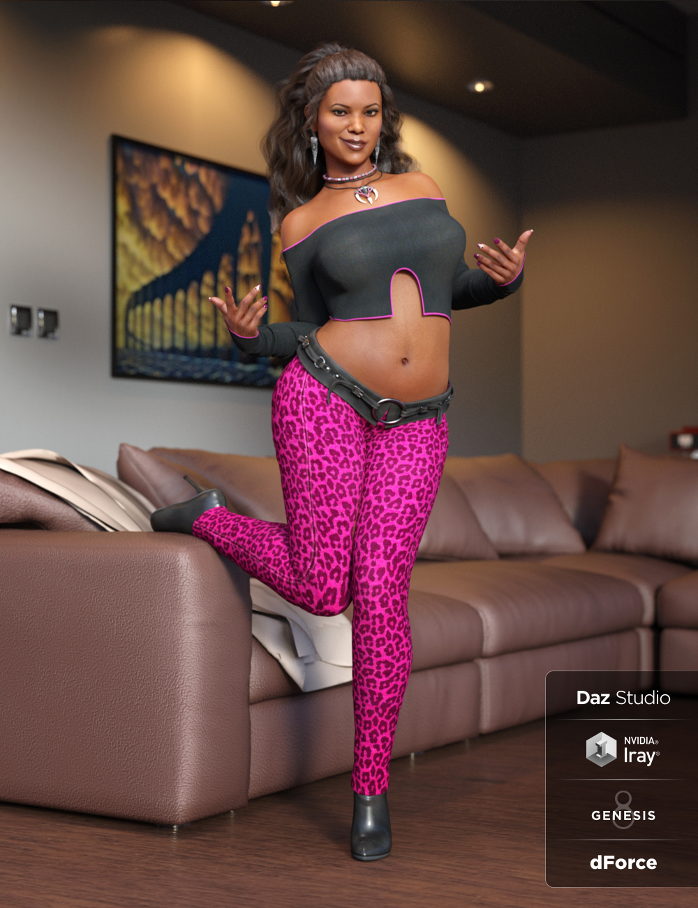 dForce Panthera Outfit for Genesis 8 Female(s) by: ArienMada, 3D Models by Daz 3D