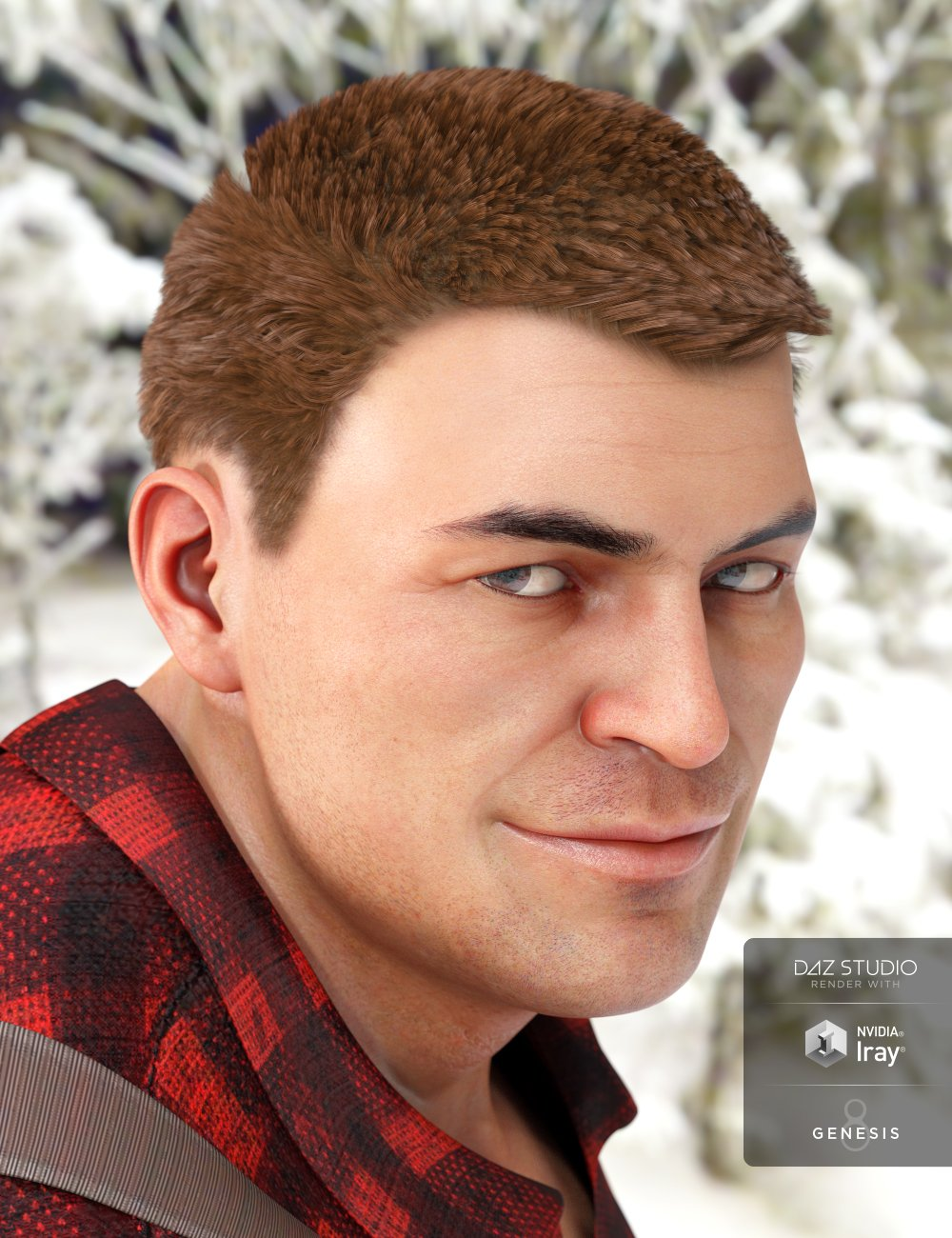 Greyson Hair for Genesis 8 and 3 Male(s) by: 3DCelebrity, 3D Models by Daz 3D