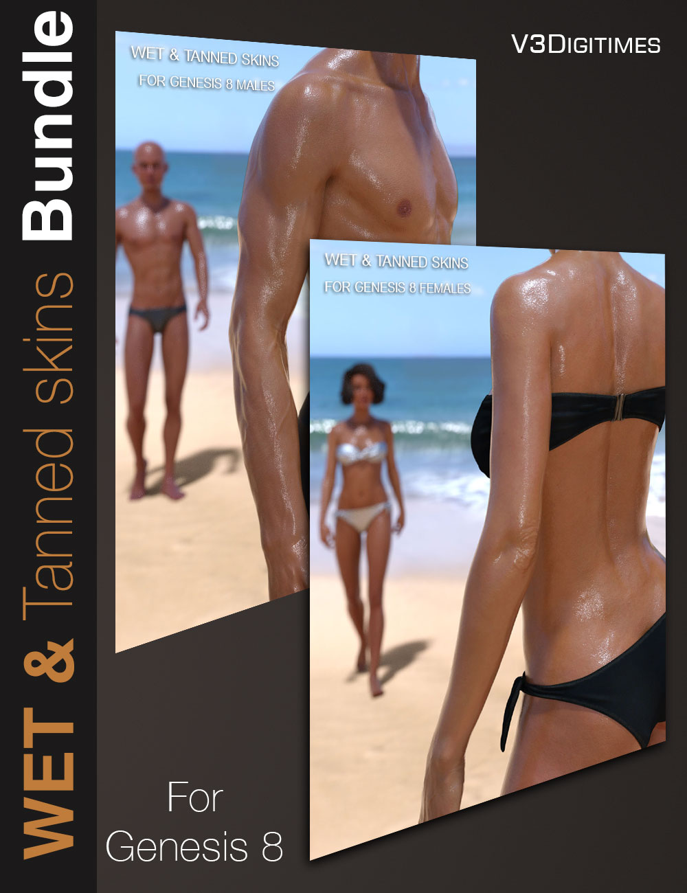 Wet and Tanned Skins for Genesis 8 Bundle by: V3Digitimes, 3D Models by Daz 3D