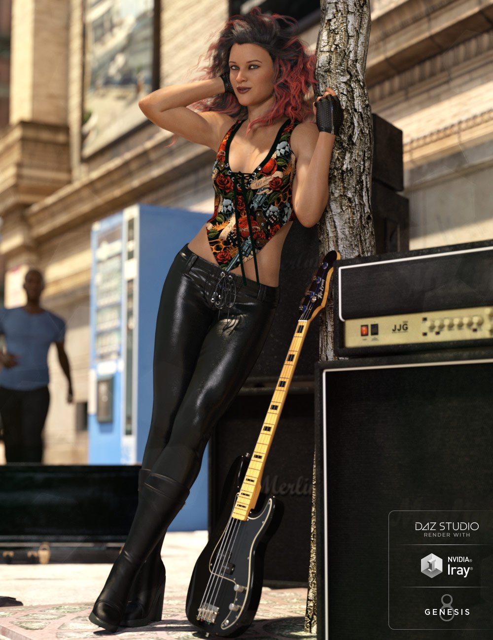 dForce Rock On Outfit for Genesis 8 Female(s) by: Anna BenjaminNikisatez, 3D Models by Daz 3D