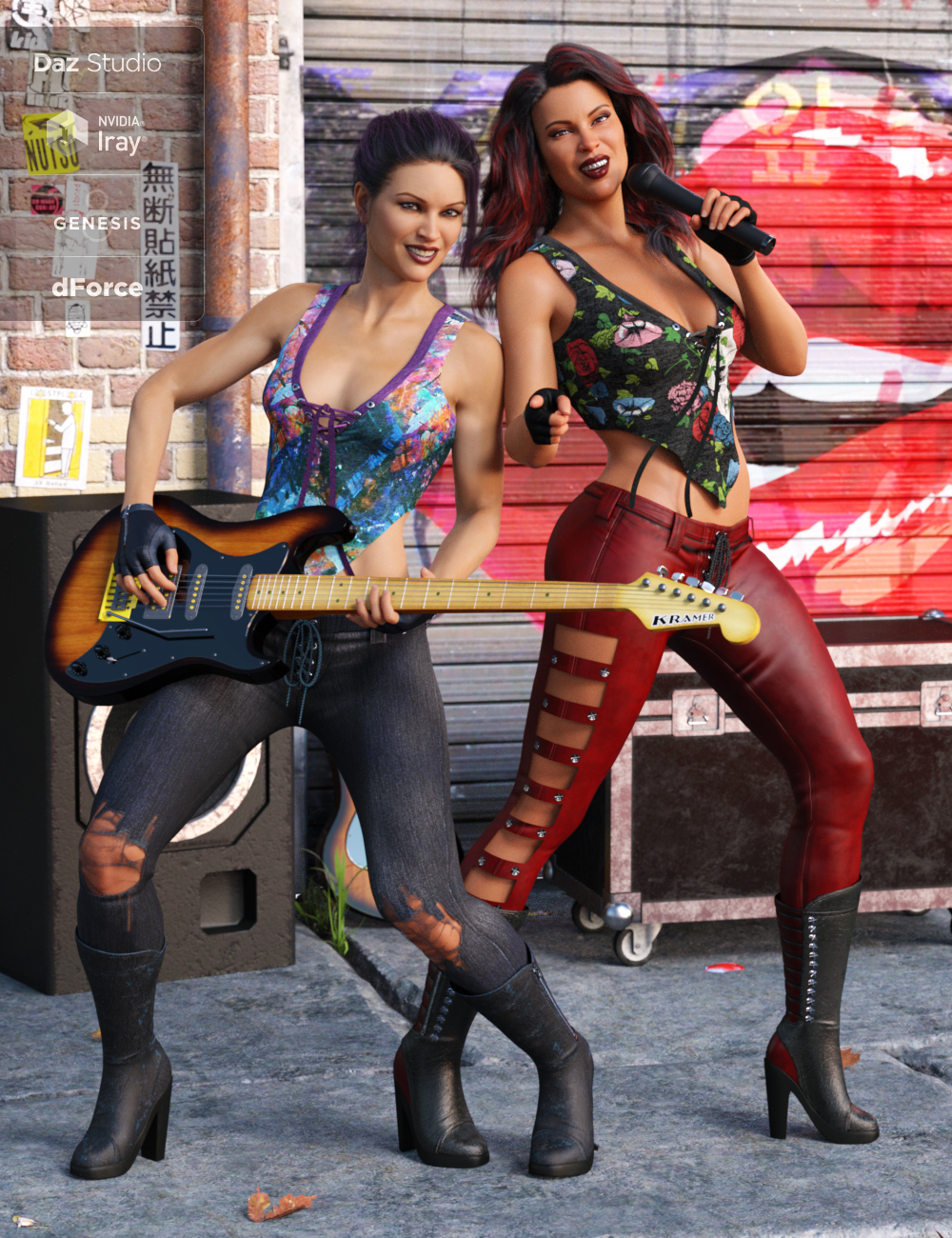dForce Rock On Outfit Textures by: Anna Benjamin, 3D Models by Daz 3D