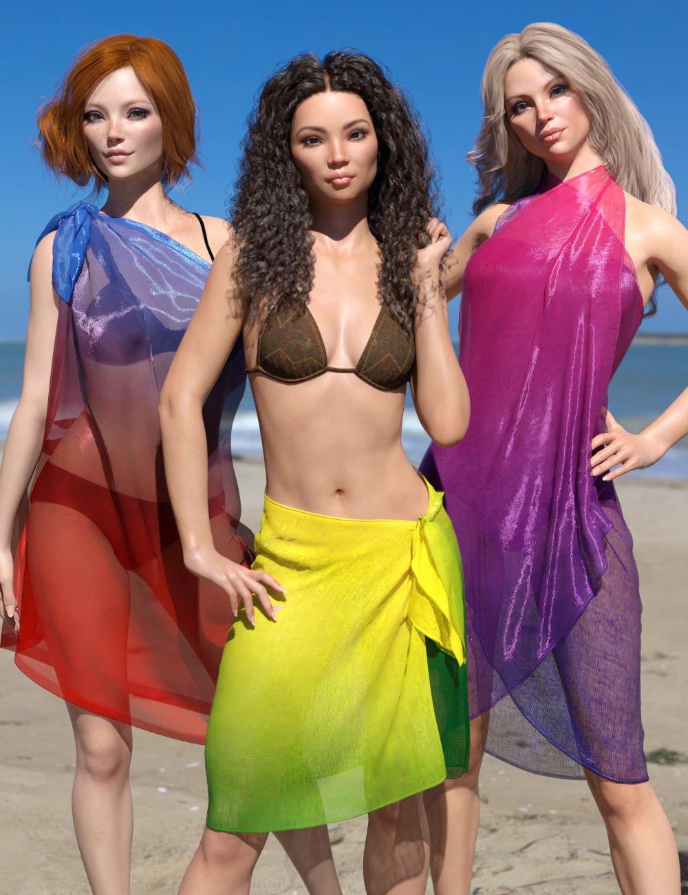 dForce Pareos Pack for Genesis 8 Female(s) by: esha, 3D Models by Daz 3D