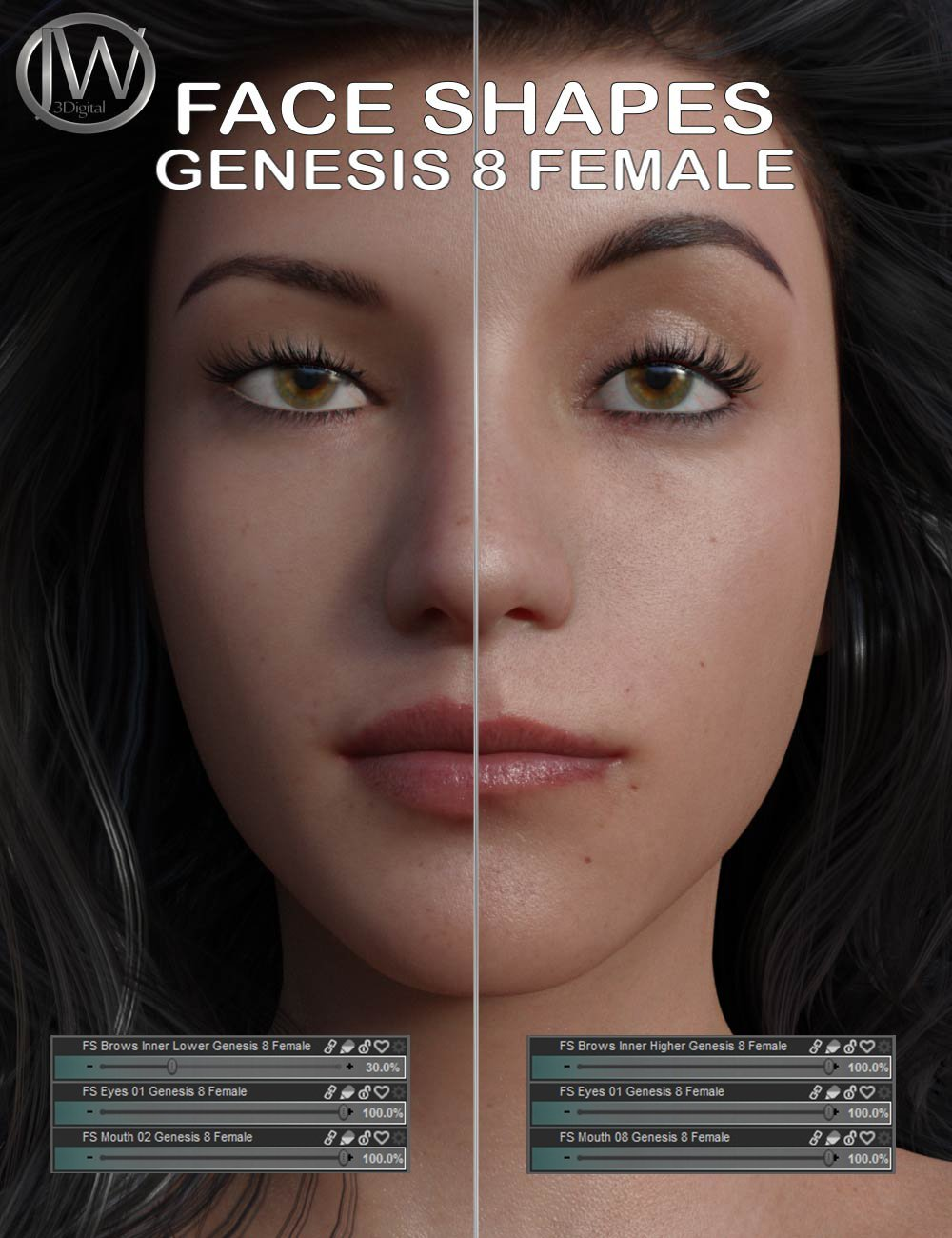 Face Shapes for Genesis 8 Female by: JWolf, 3D Models by Daz 3D