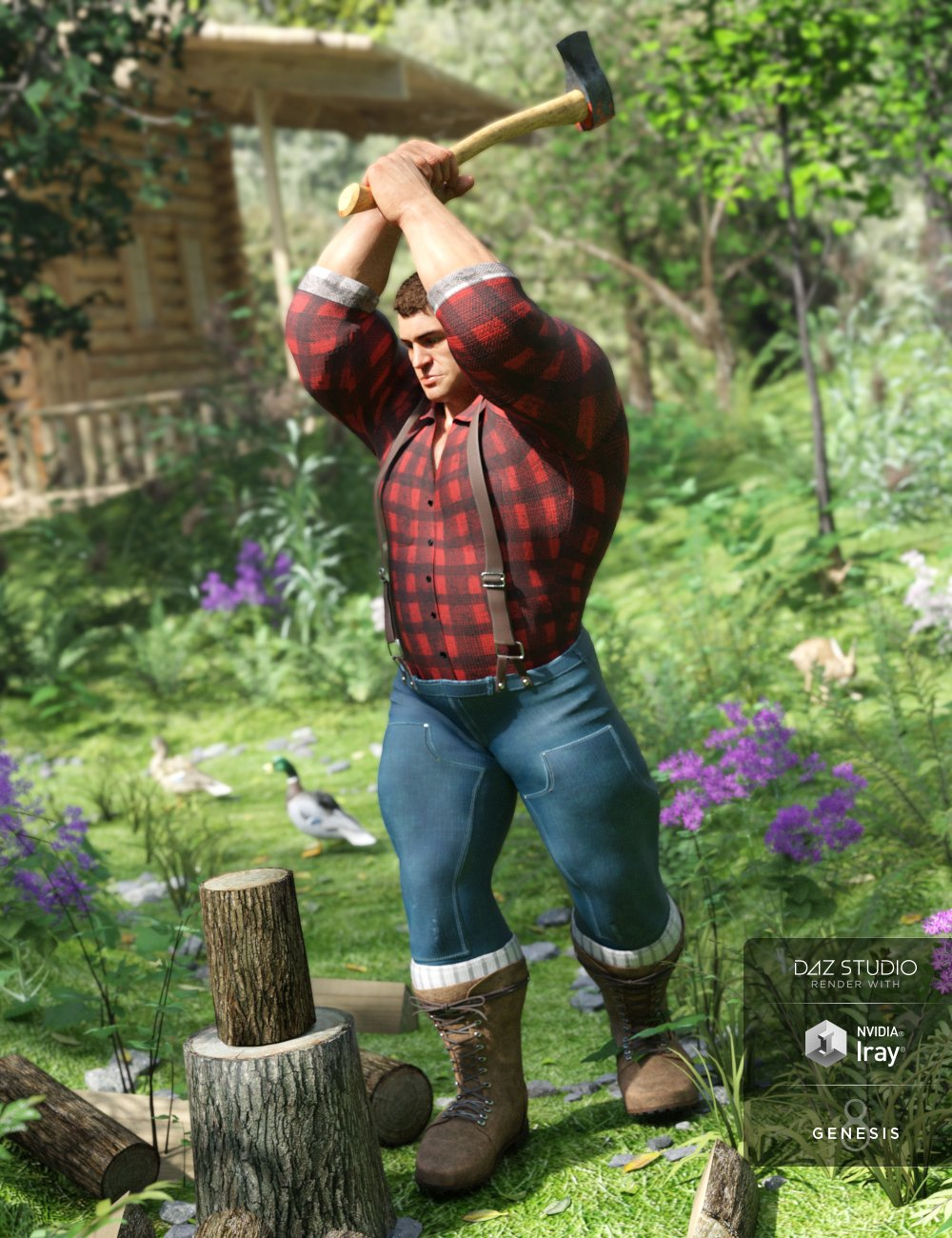 Lumberjack Outfit for Genesis 8 Male(s) by: Barbara BrundonMoonscape GraphicsSadeUmblefugly, 3D Models by Daz 3D