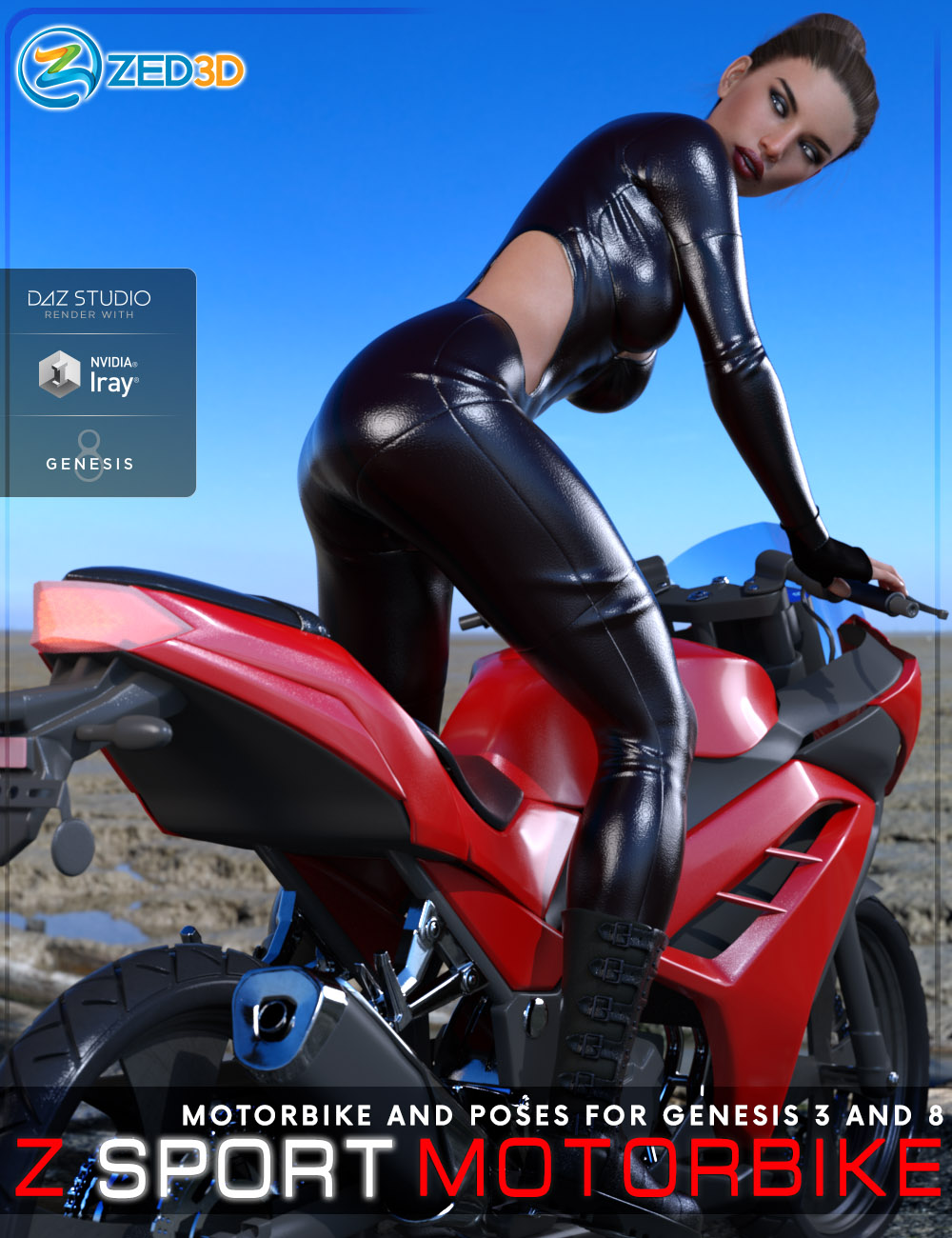 Z Sport Motorbike and Poses for Genesis 3 and 8 by: Zeddicuss, 3D Models by Daz 3D