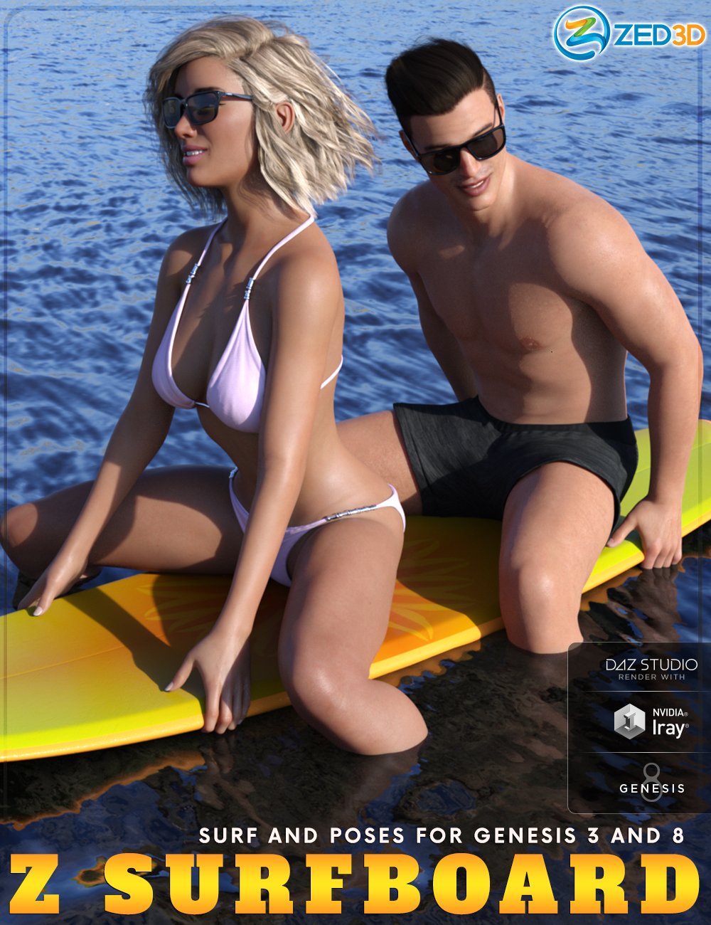Z Surfboard and Poses for Genesis 3 and 8 by: Zeddicuss, 3D Models by Daz 3D