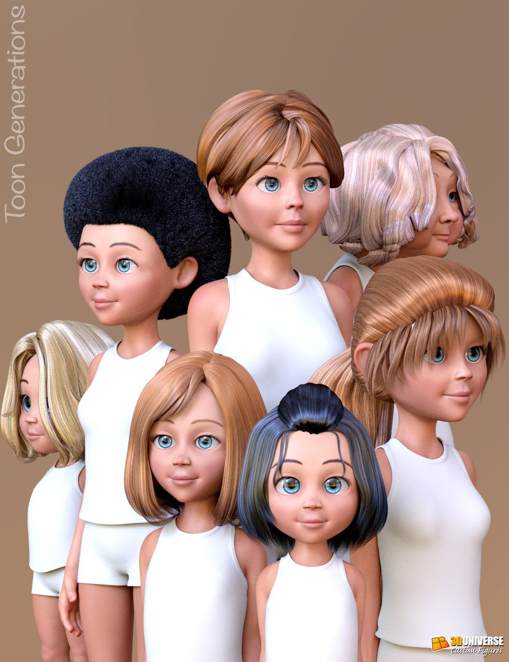 Toon Generations Hair for Genesis 8 Female(s) by: 3D Universe, 3D Models by Daz 3D