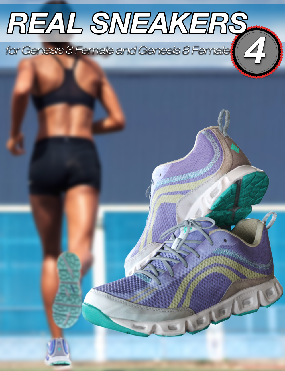 S3D Real Sneakers 4 for Genesis 3 and 8 Female(s) by: Slide3D, 3D Models by Daz 3D