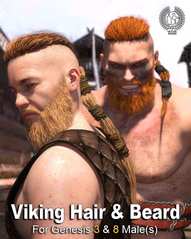 Viking Hair and Beard for Genesis 3 and 8 Male(s) by: SamSil, 3D Models by Daz 3D